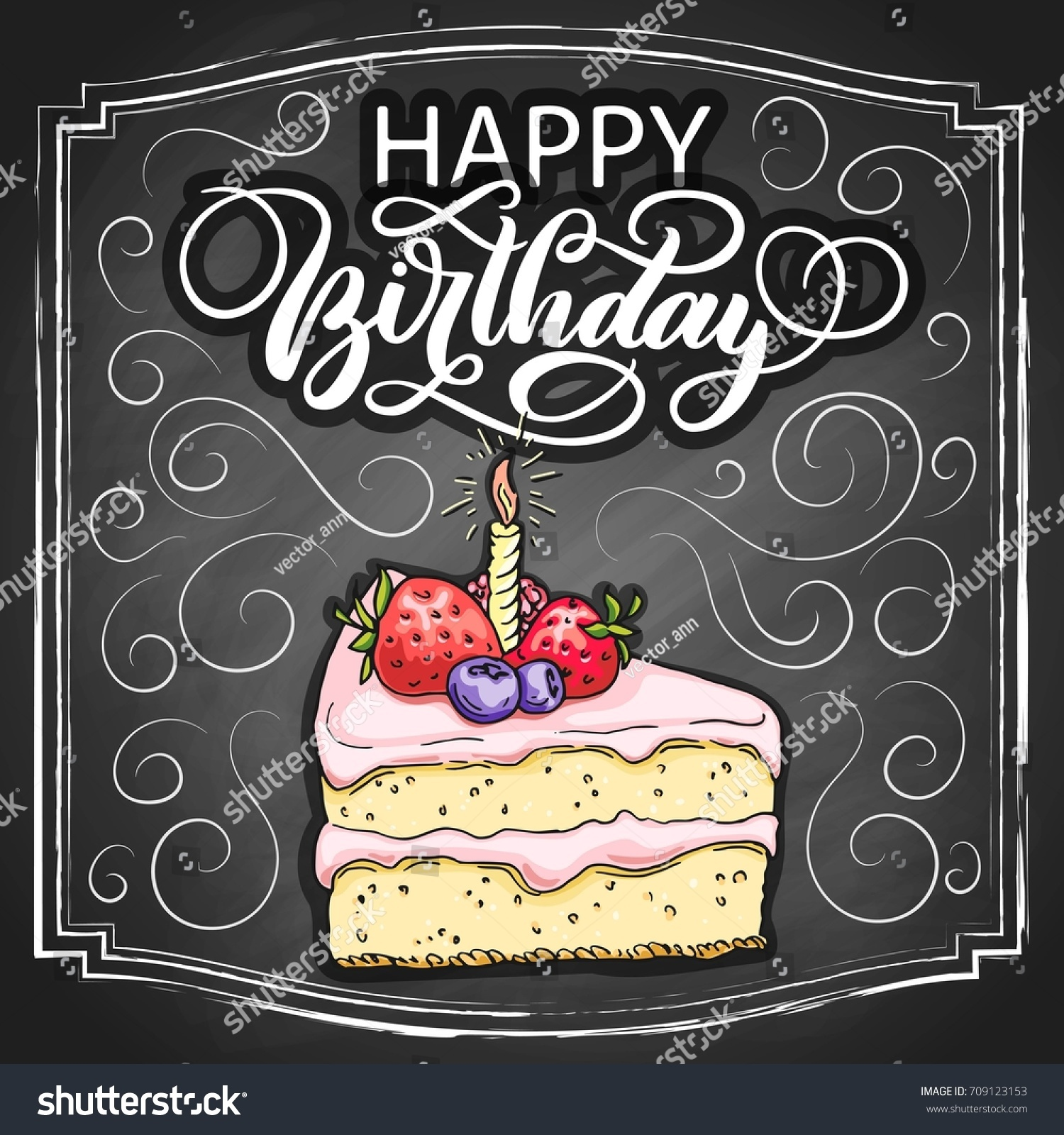 Hand Drawn Happy Birthday Cake Colorful Stock Vector Royalty Free