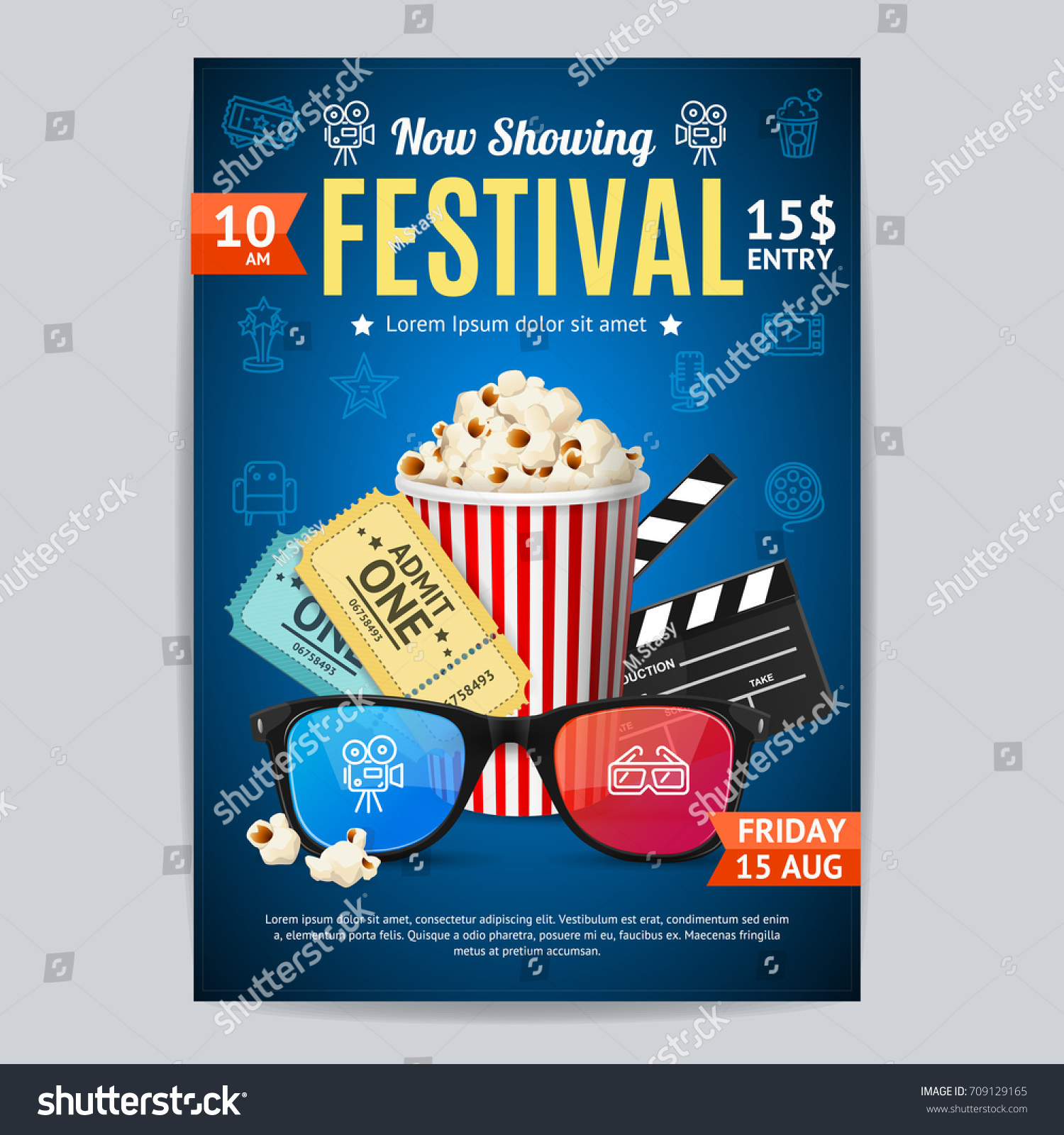 Cinema Movie Festival Poster Card Template Image Vectorielle De