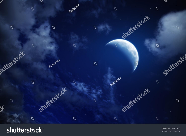Cloudy Night Sky Stars Moon And Stars ...