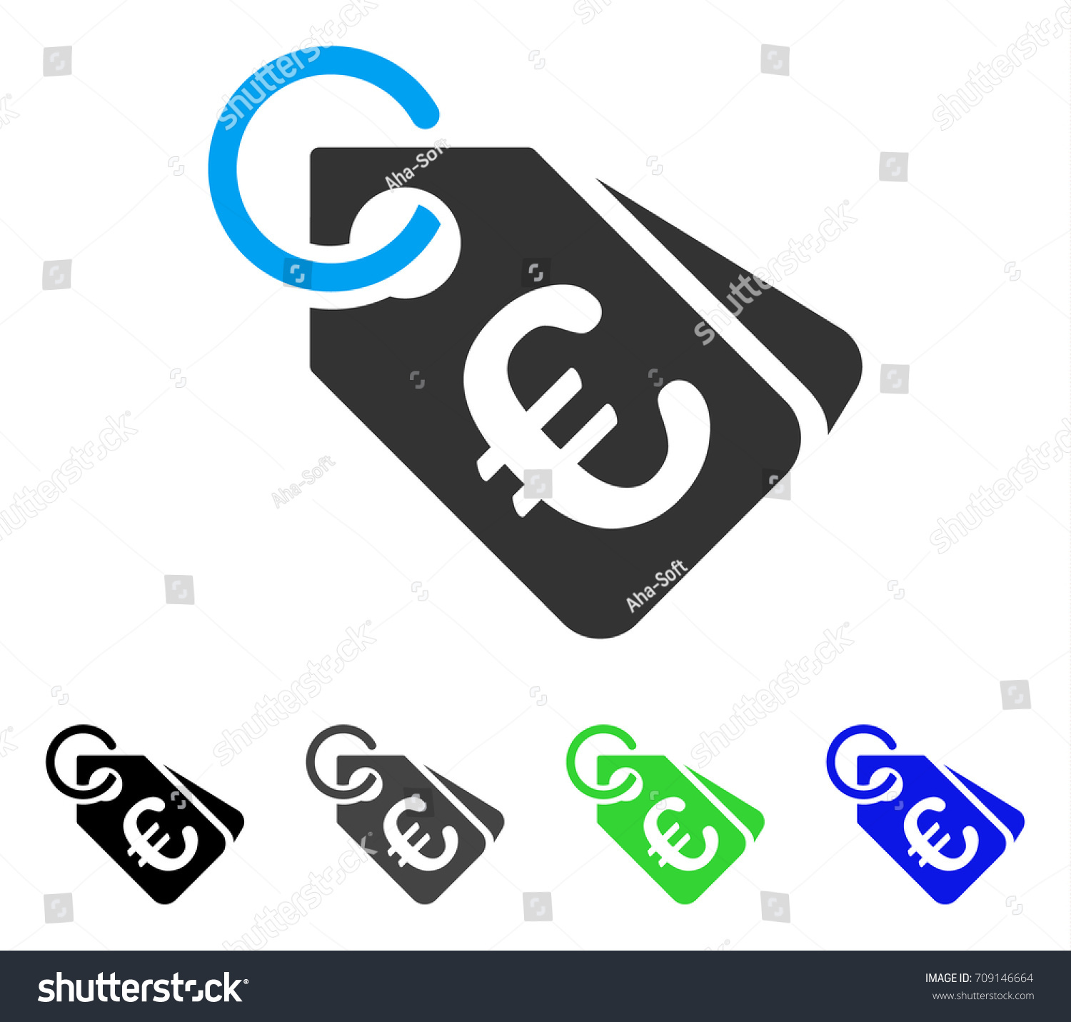 Euro price tags vector pictogram style stock vector 709146664 euro price tags vector pictogram style is a flat graphic symbol in black grey biocorpaavc