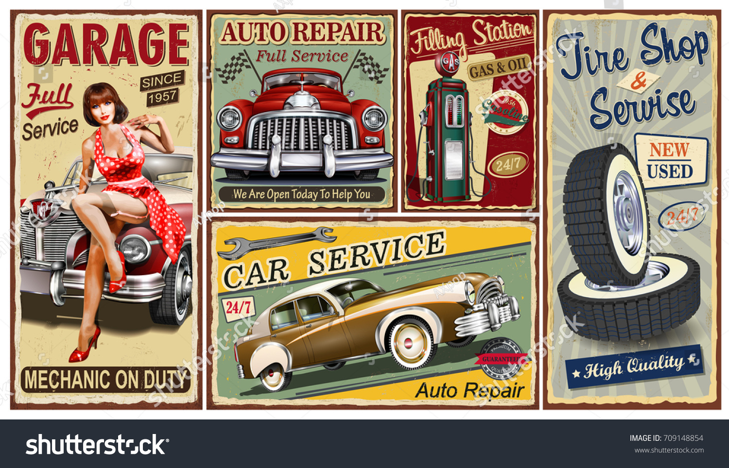 Set Vintage Car Metal Signsgarage Filling Stock Vector 709148854 ...