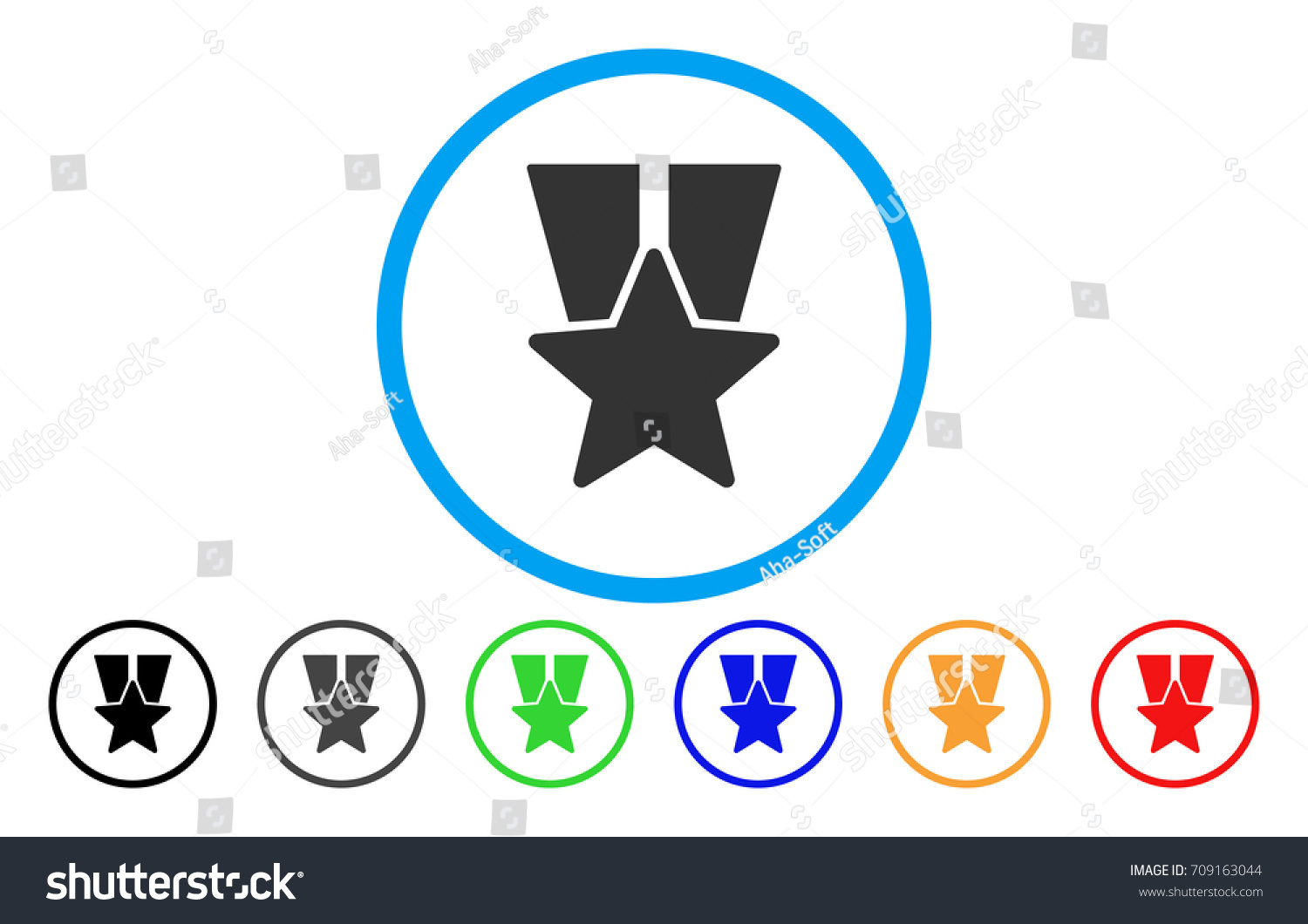 Star Medal Vector Rounded Icon Image Stock Vector Royalty Free