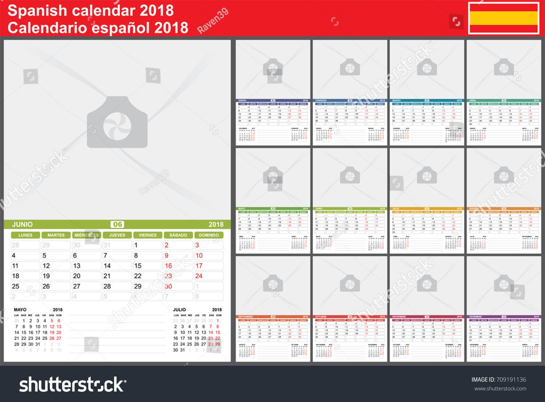 Spanish Wall Calendar 2018 Week Starts Stock Vector Royalty Free