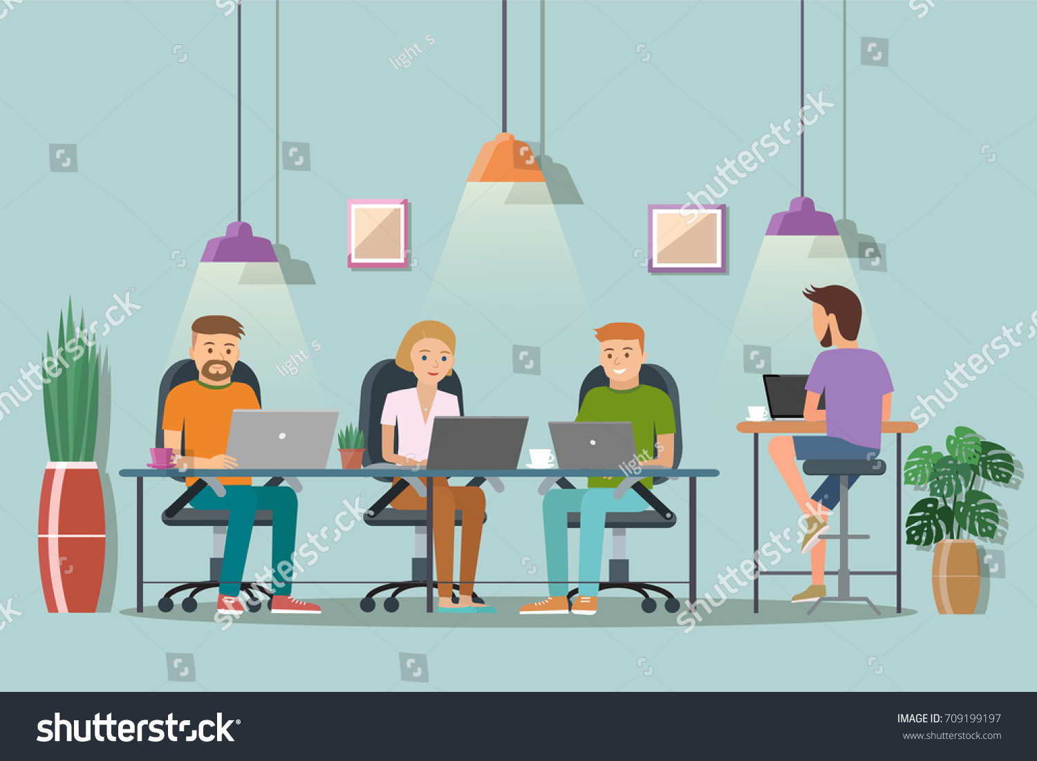 the creative office. Vector Illustration Of Coworking Space. Working Place, Office. People In The Creative Office