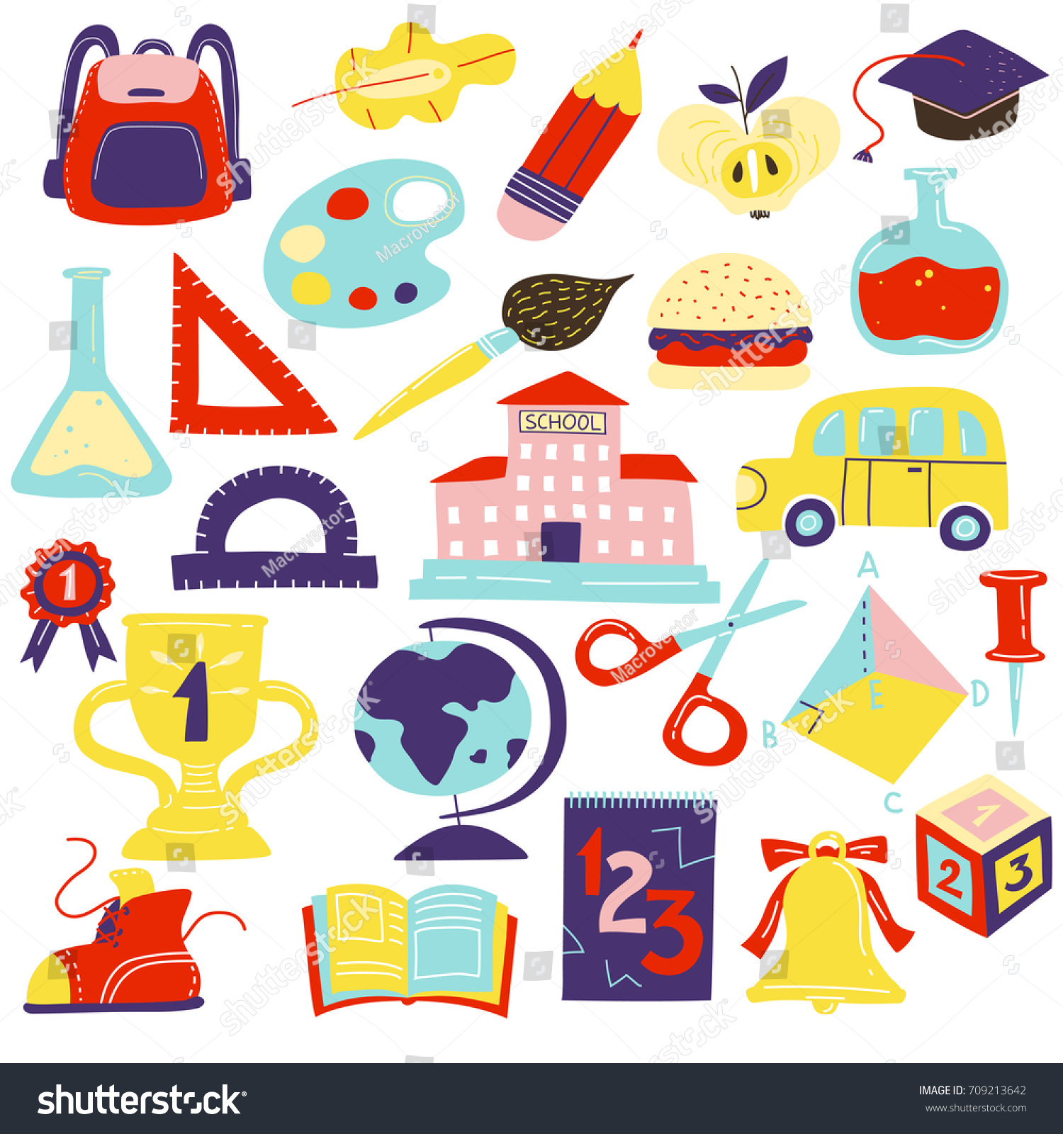 School symbols accessories flat icons set stock vector 709213642 school symbols accessories flat icons set with schoolbus schoolbooks scissors geometrical figures schoolbag bell isolated vector buycottarizona Image collections