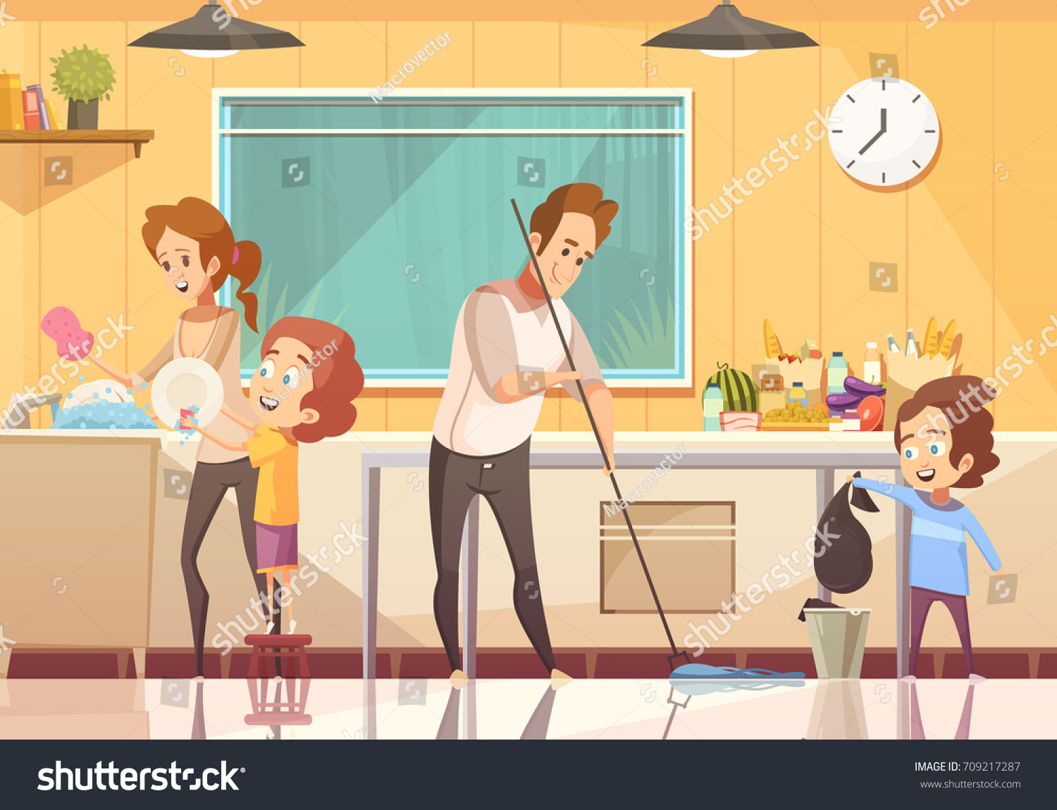 kids helping parents cleaning kitchen retro stock vector. Black Bedroom Furniture Sets. Home Design Ideas