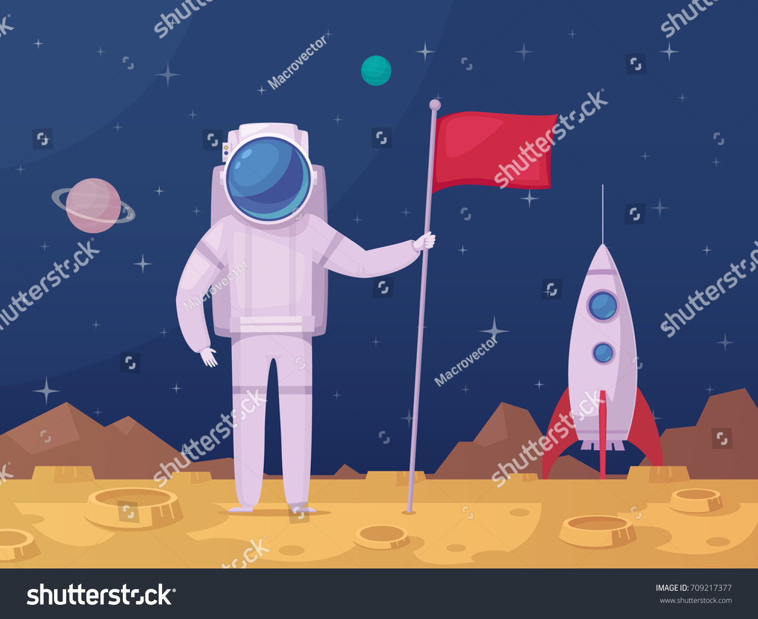 Astronaut Flag After Moon Landing On Stock Vector ...
