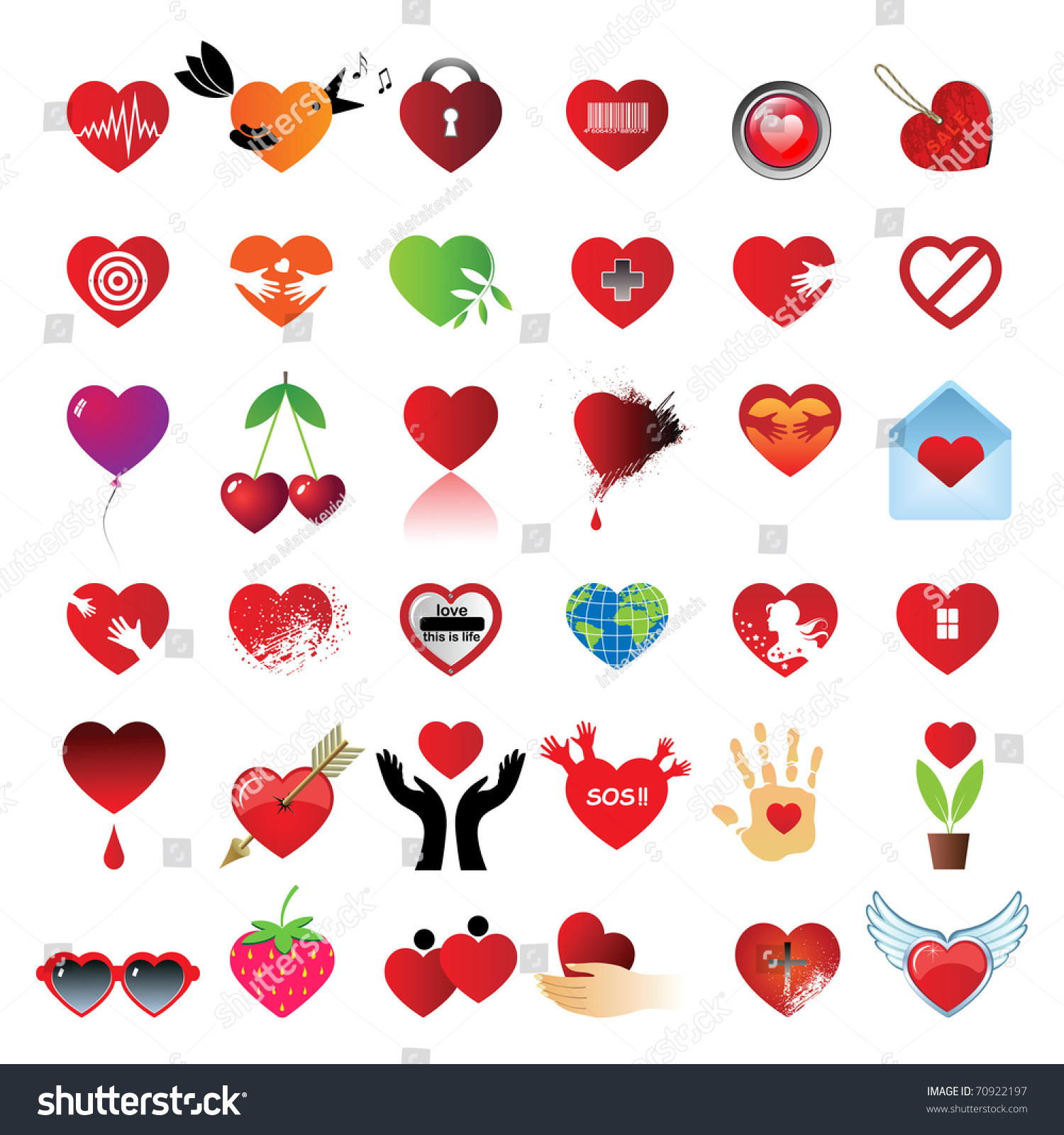 Set 36 hearts different symbols signs stock vector 70922197 different symbols and signs of heart buycottarizona Images