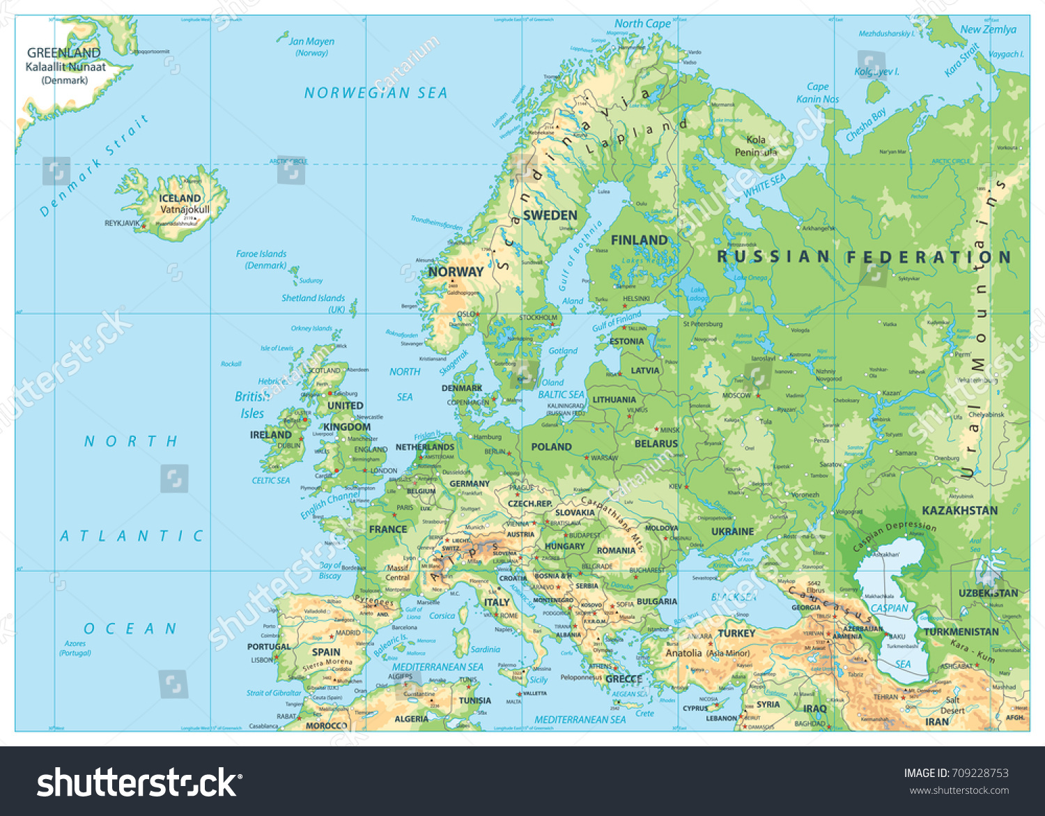 Europe Physical Map No Bathymetry Detailed Stock Vector - Lithuania physical map