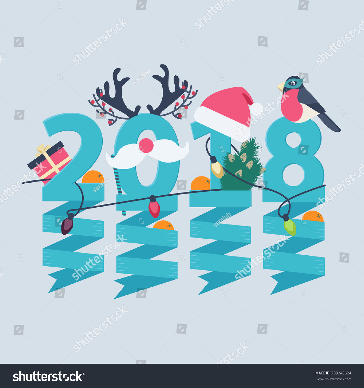 2018 new year greeting card design with party streamers hanging from blue numerals decorated with christmas