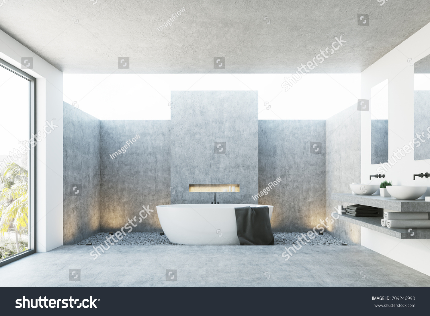 Concrete Bathroom White Tub Black Towel Stock Illustration 709246990 ...