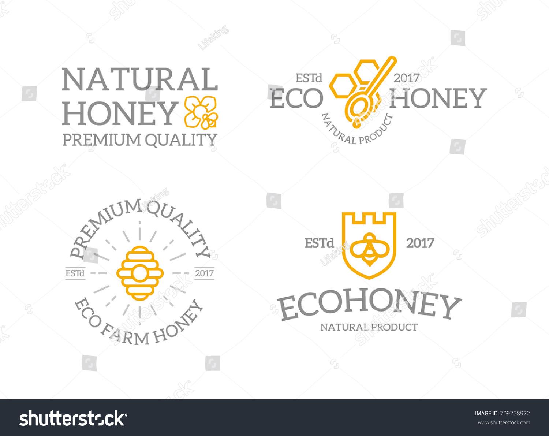 Set Retro Vintage Honey Shield Bee Stock Vector Royalty Free