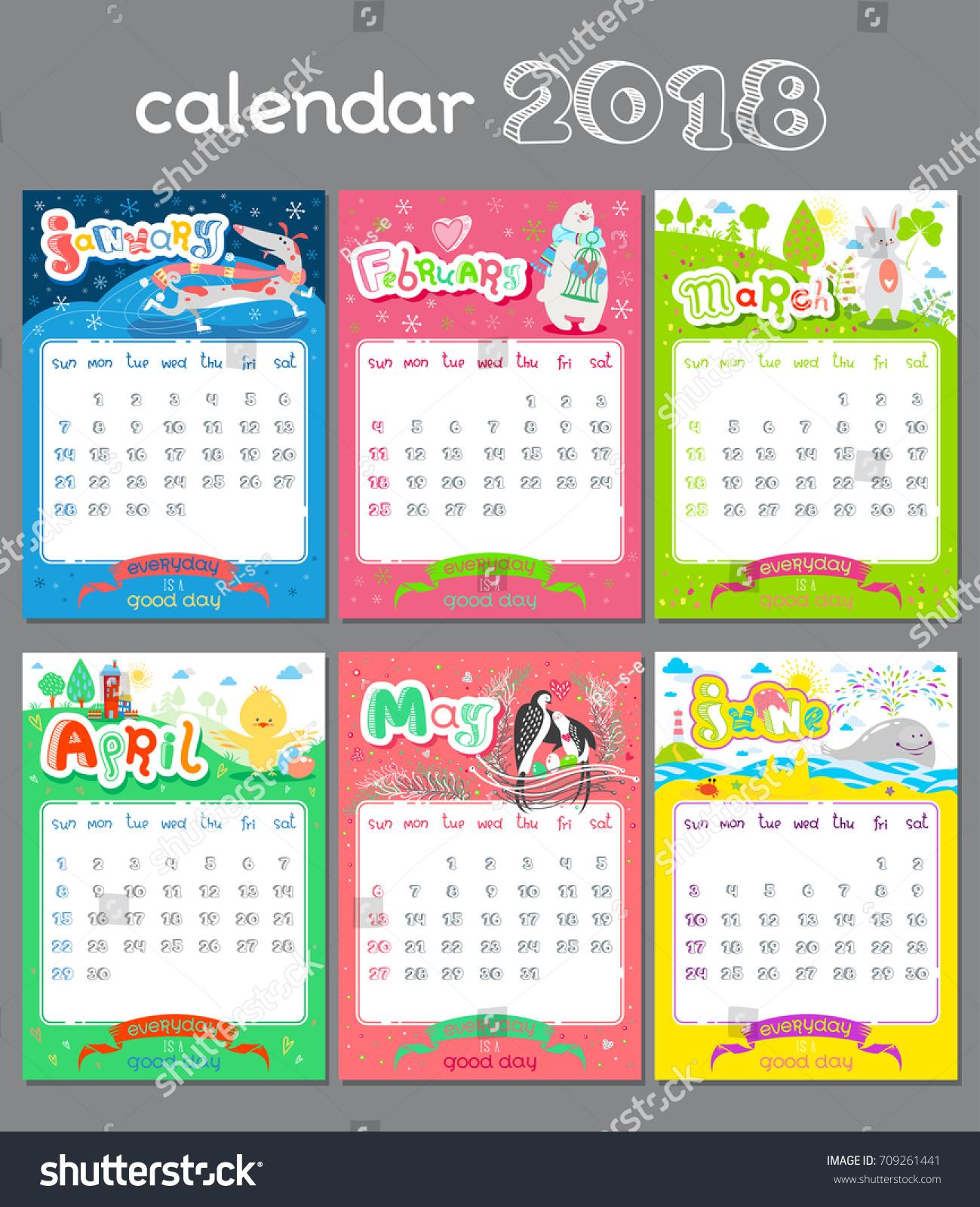 Holiday Calendar Design : Doodle calendar design year vector stock