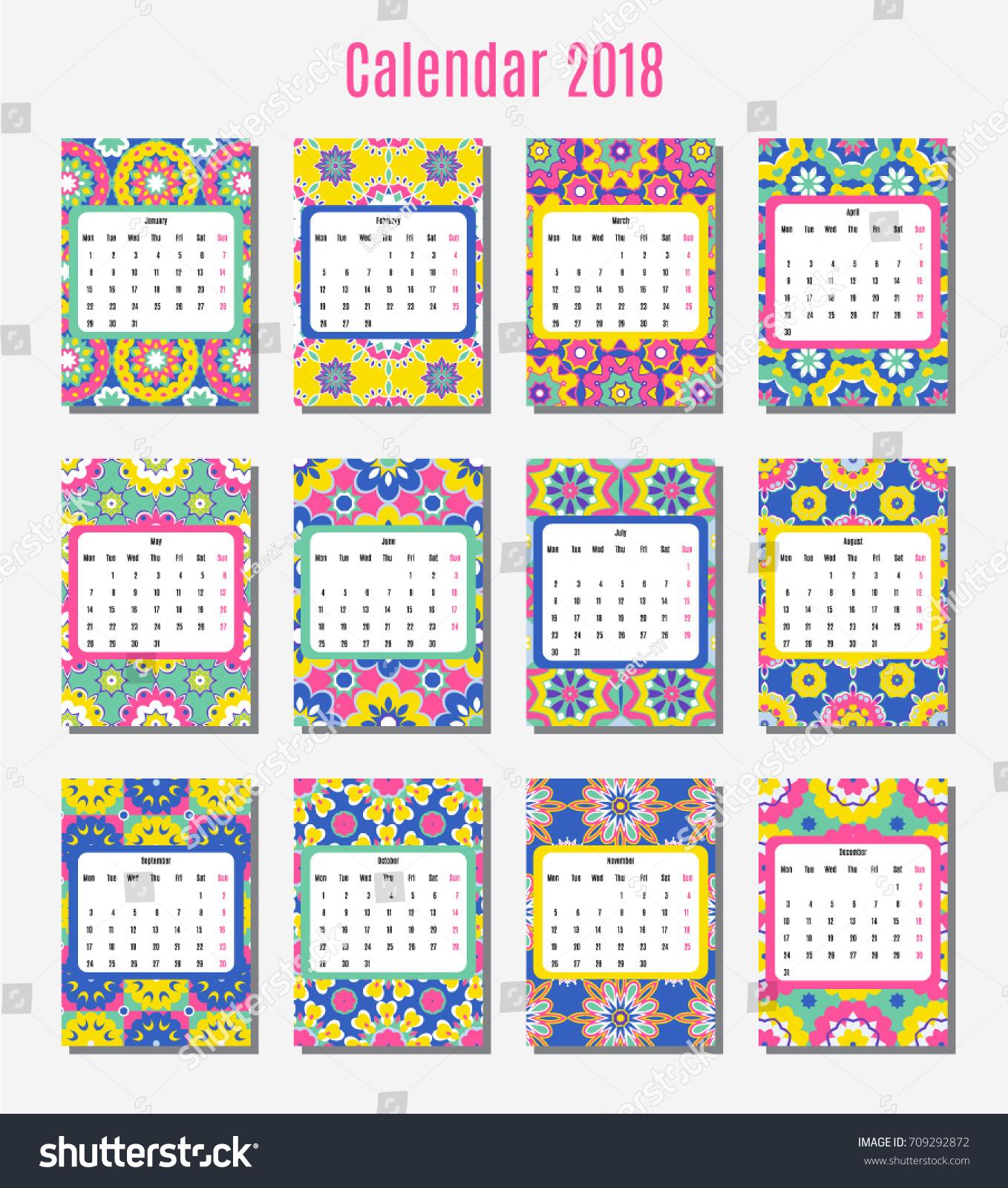 Calendar Design Pattern : Vector template design calendar paper stock