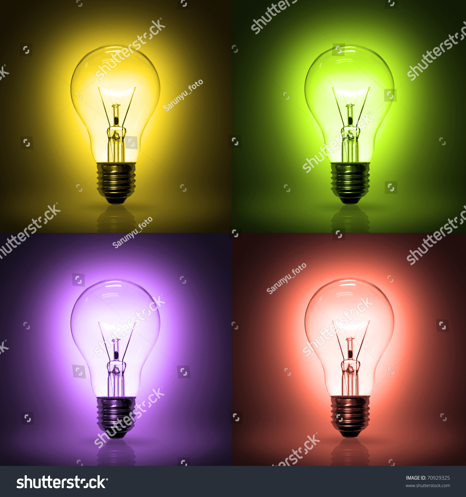 Light Bulb Wallpaper: Light Bulb On Colorful Background Stock Photo 70929325