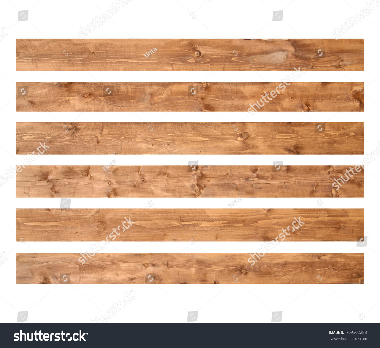 Old wood planks isolated on white background. Brown wooden texture.  #709302283