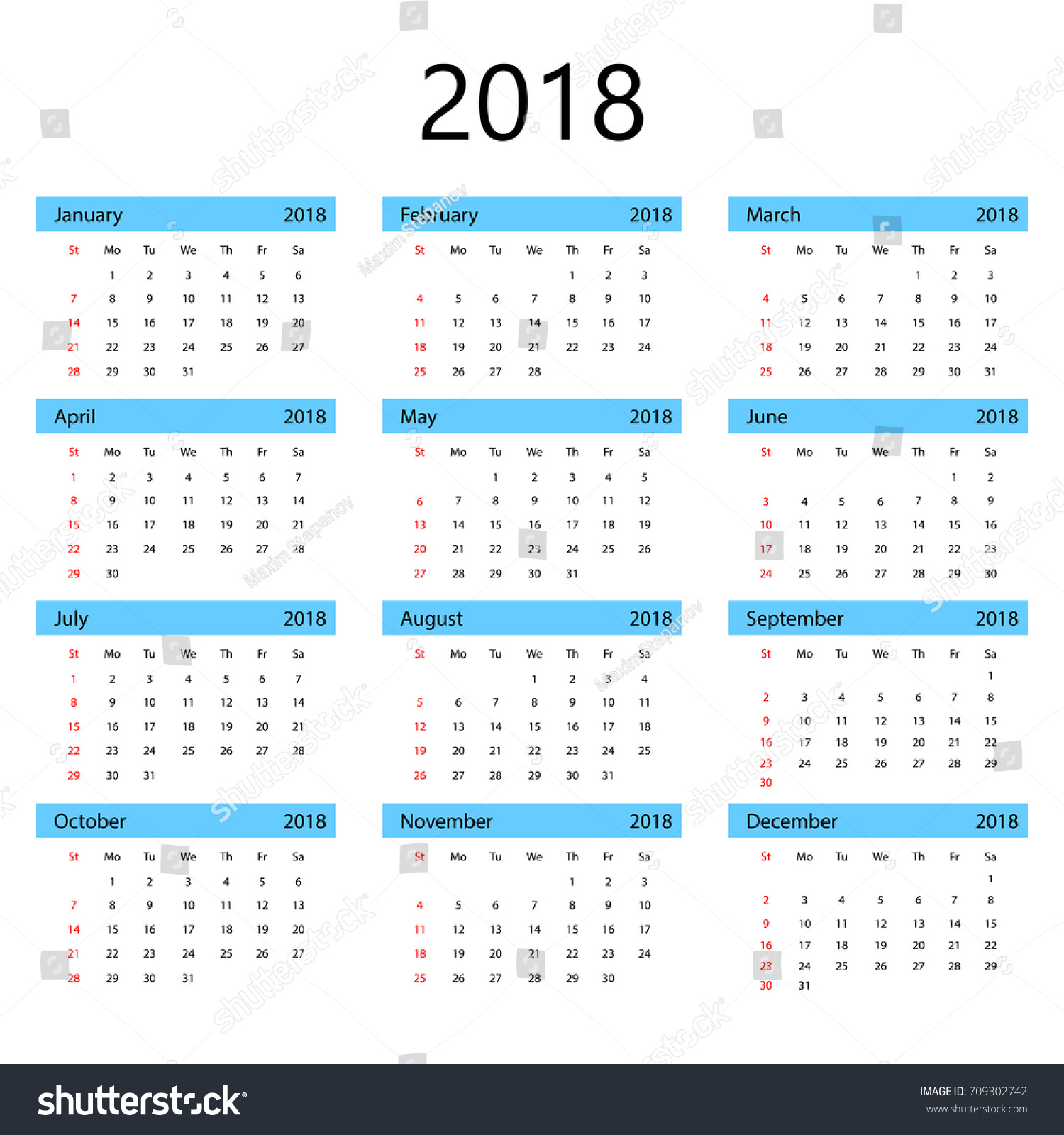 Simple fice Calendar 2018 Isolated Background Stock Vector
