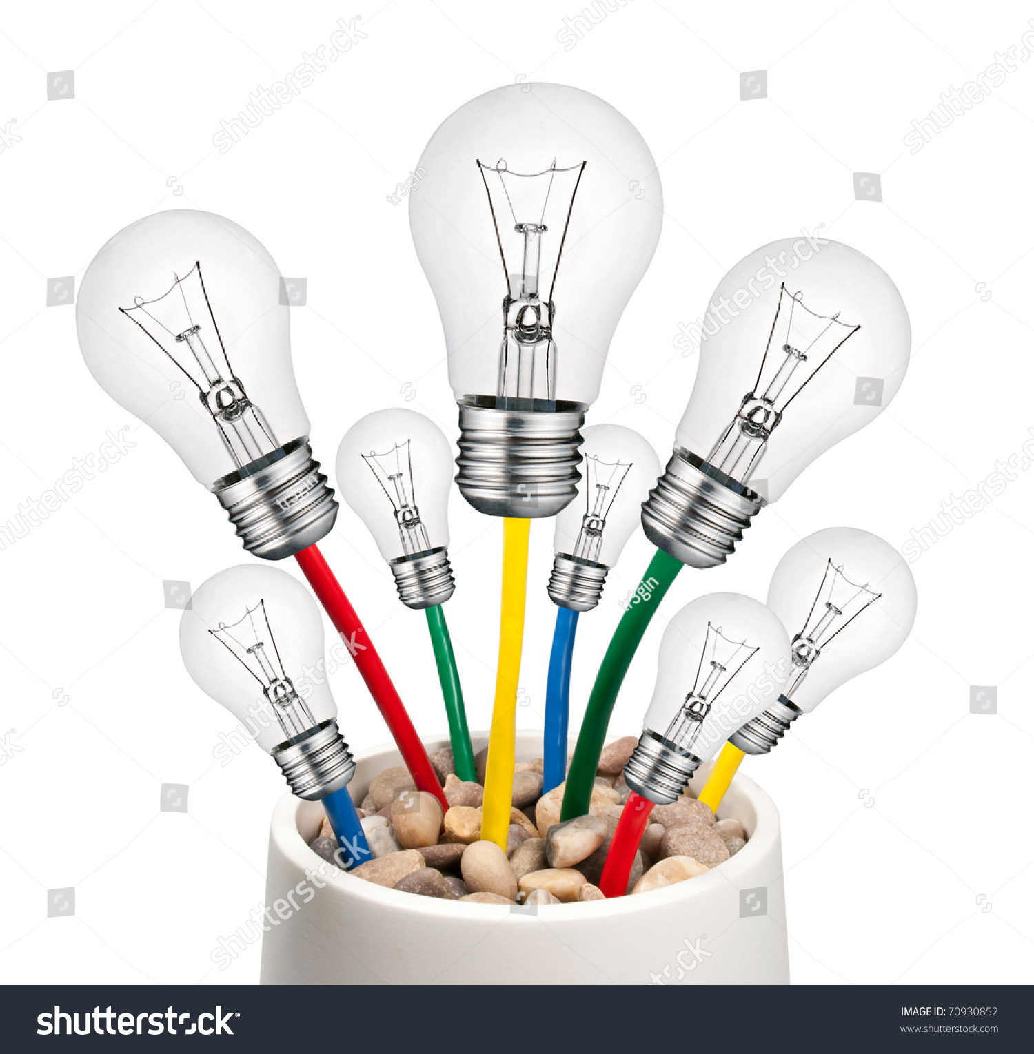 Alternative New Ideas Lightbulbs Cables Growing Stock Photo Edit Incandescent Light Bulb Diagram Bulbs With In A Pot Isolated On White Background