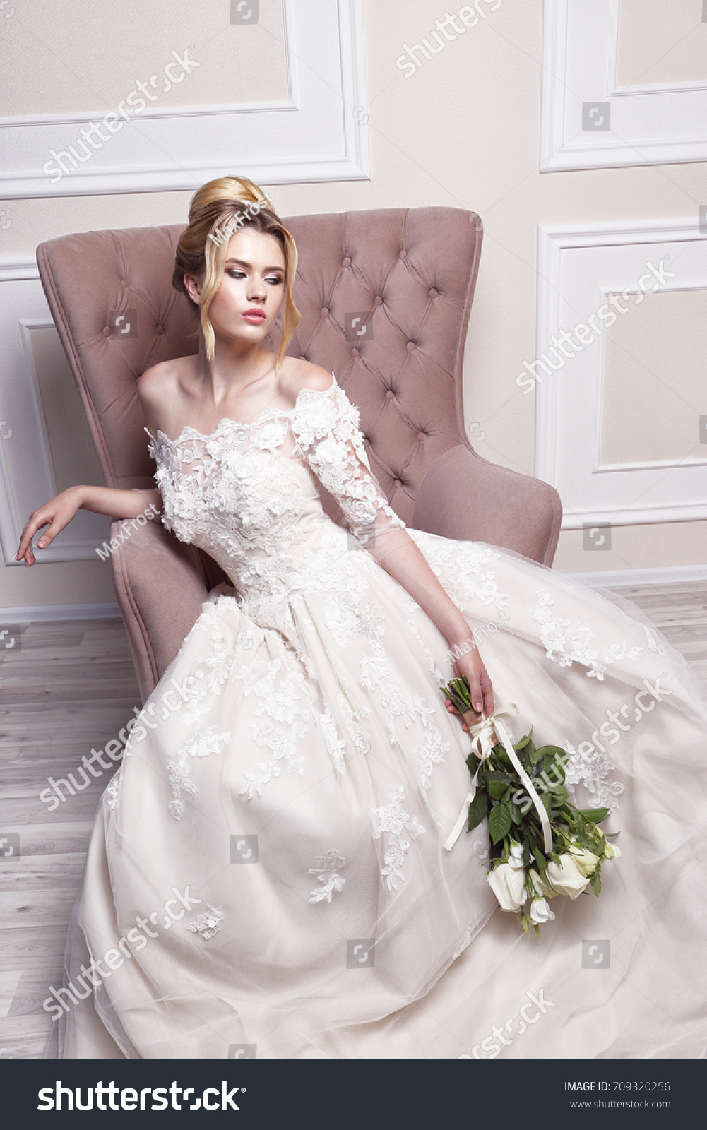 Young Beautiful Bride Wedding Hairstyle Blond Stock Photo 709320256 ...