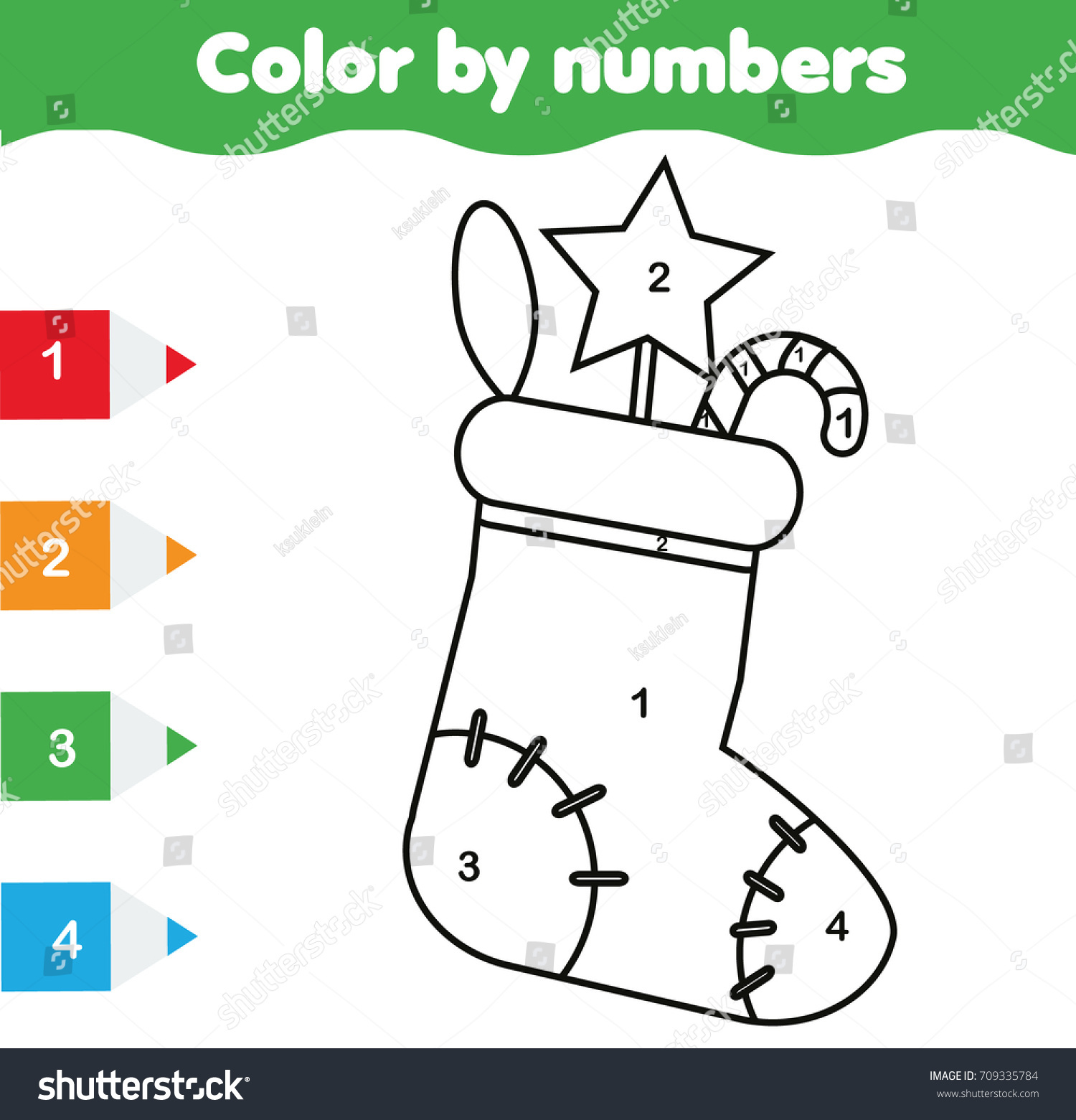 Coloring Page With Christmas Sock Color By Numbers Educational Children Game Drawing Kids Activity
