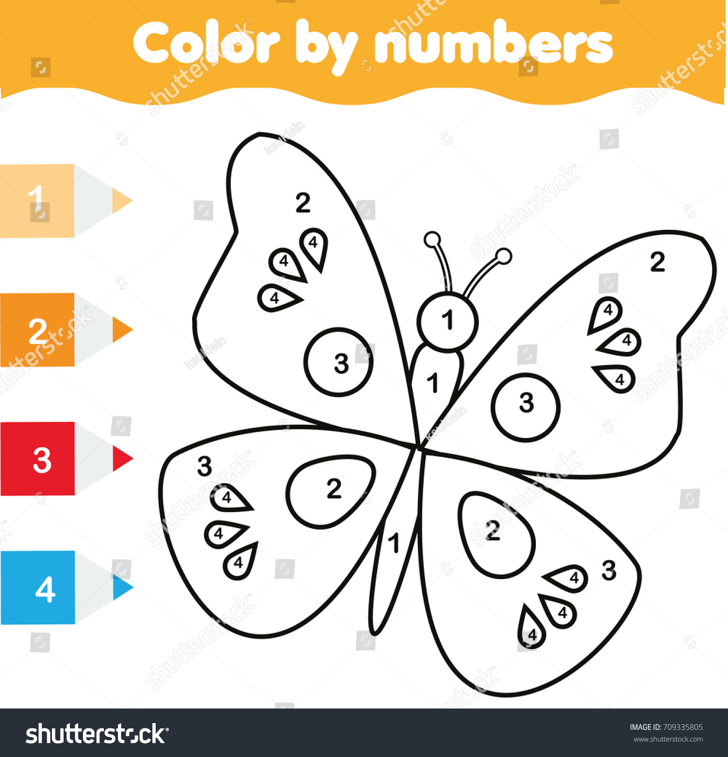 color by numbers educational children game drawing kids activity