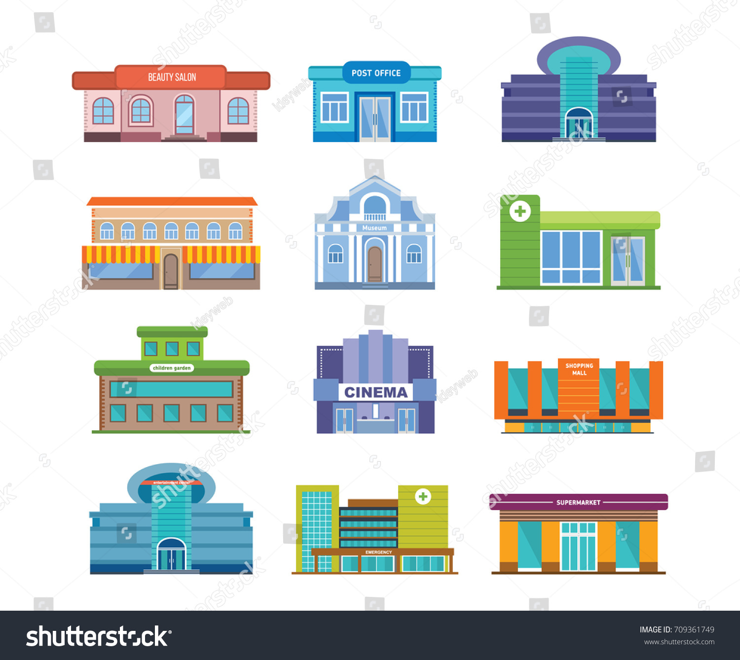 Set Of Urban Buildings And Architectural Structures Beauty Salon Post Office Shopping Centers