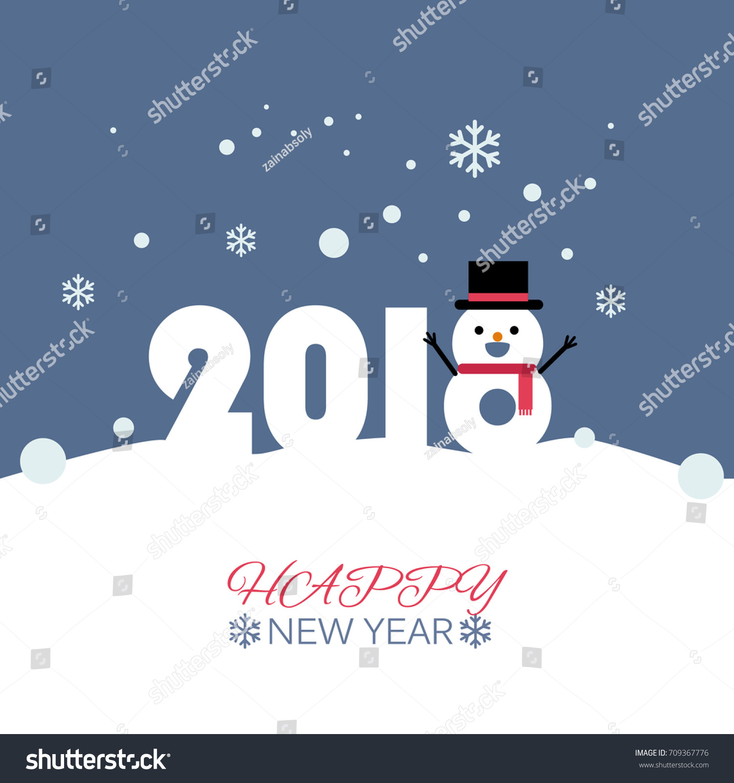 Happy New Year Snow Man Vector Stock Vector (Royalty Free) 709367776 ...