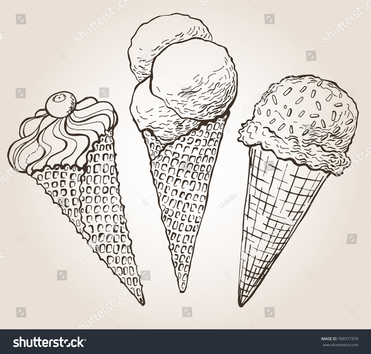 vector sketch illustration ice cream cone stock vector royalty free