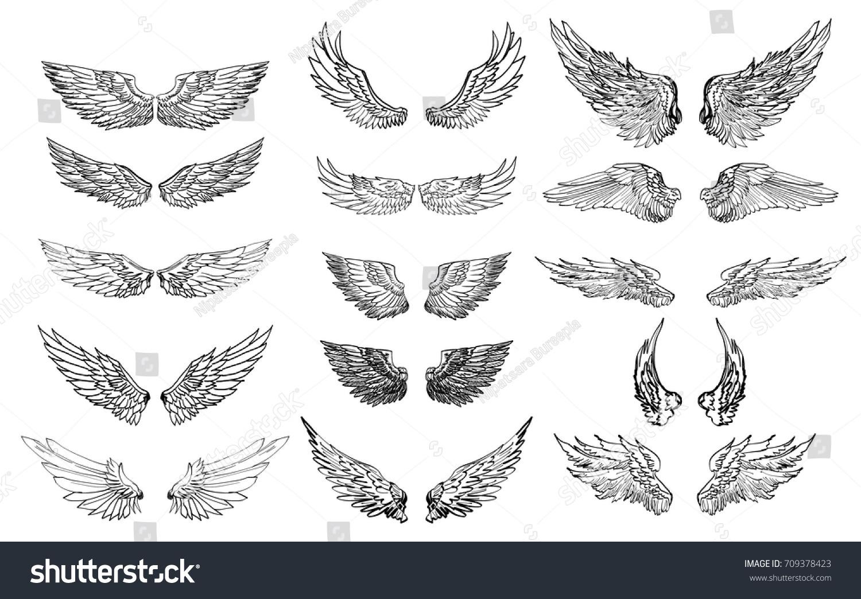 hand drawn wing set sticker wing tattoo doodle のベクター画像素材