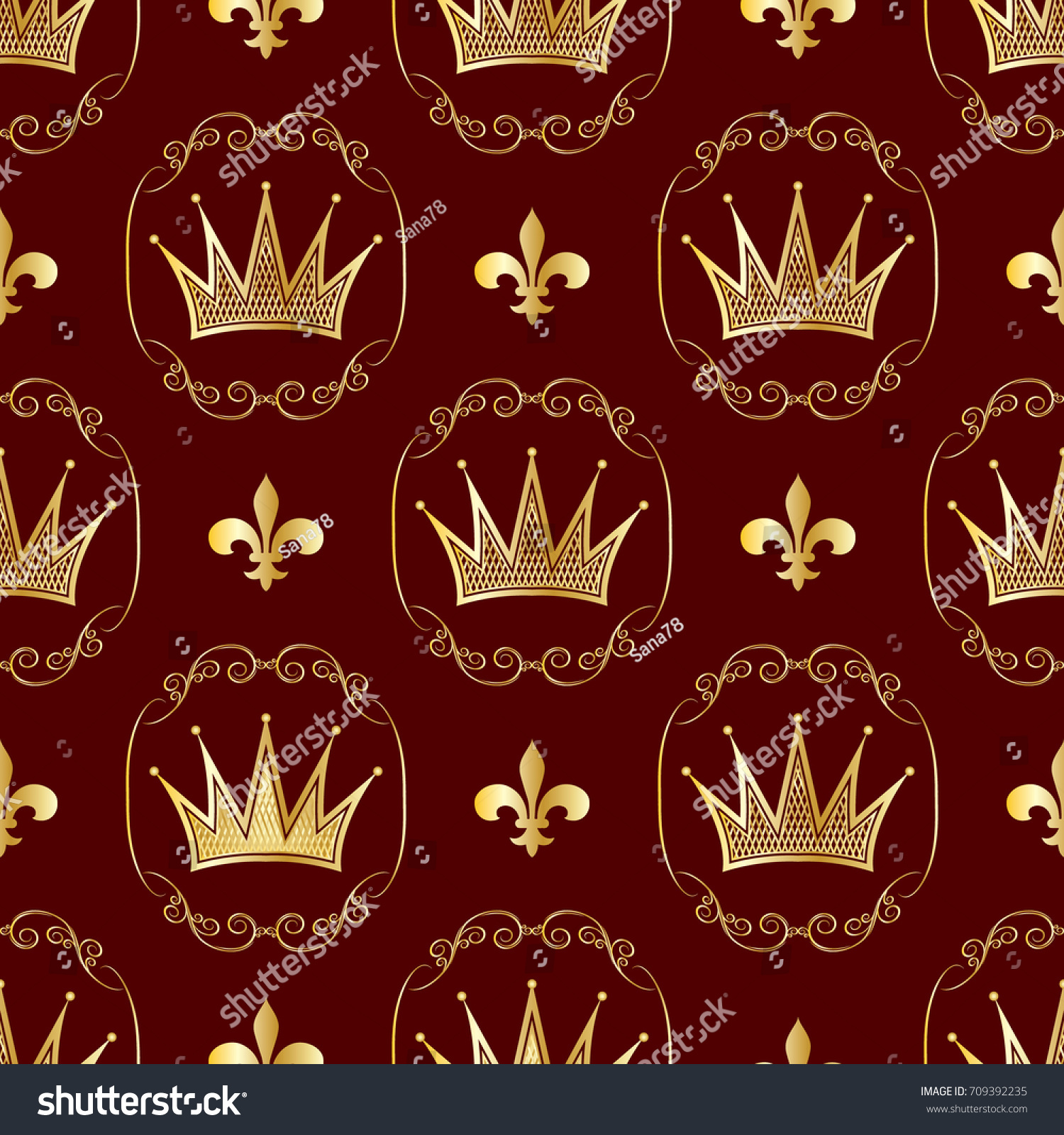 Seamless Pattern Crowns Symbols Royalty Background Stock Vector
