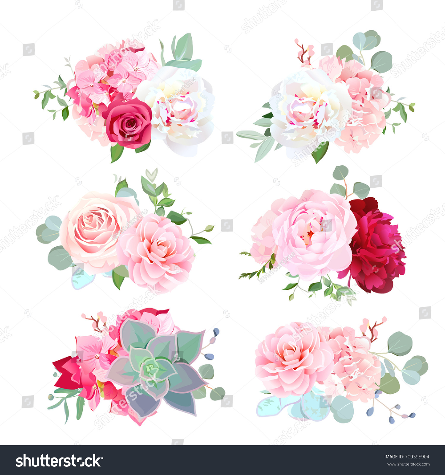 Small Wedding Bouquets White Burgundy Red Stock Vector Royalty Free 709395904