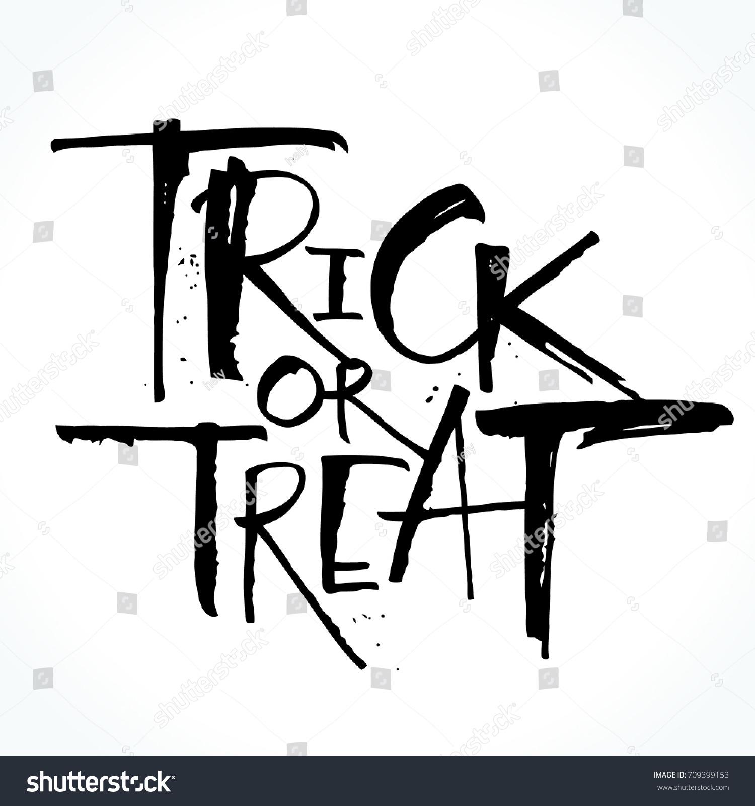 Trick Treat Lettering Halloween Handwritten Modern Stock Vector