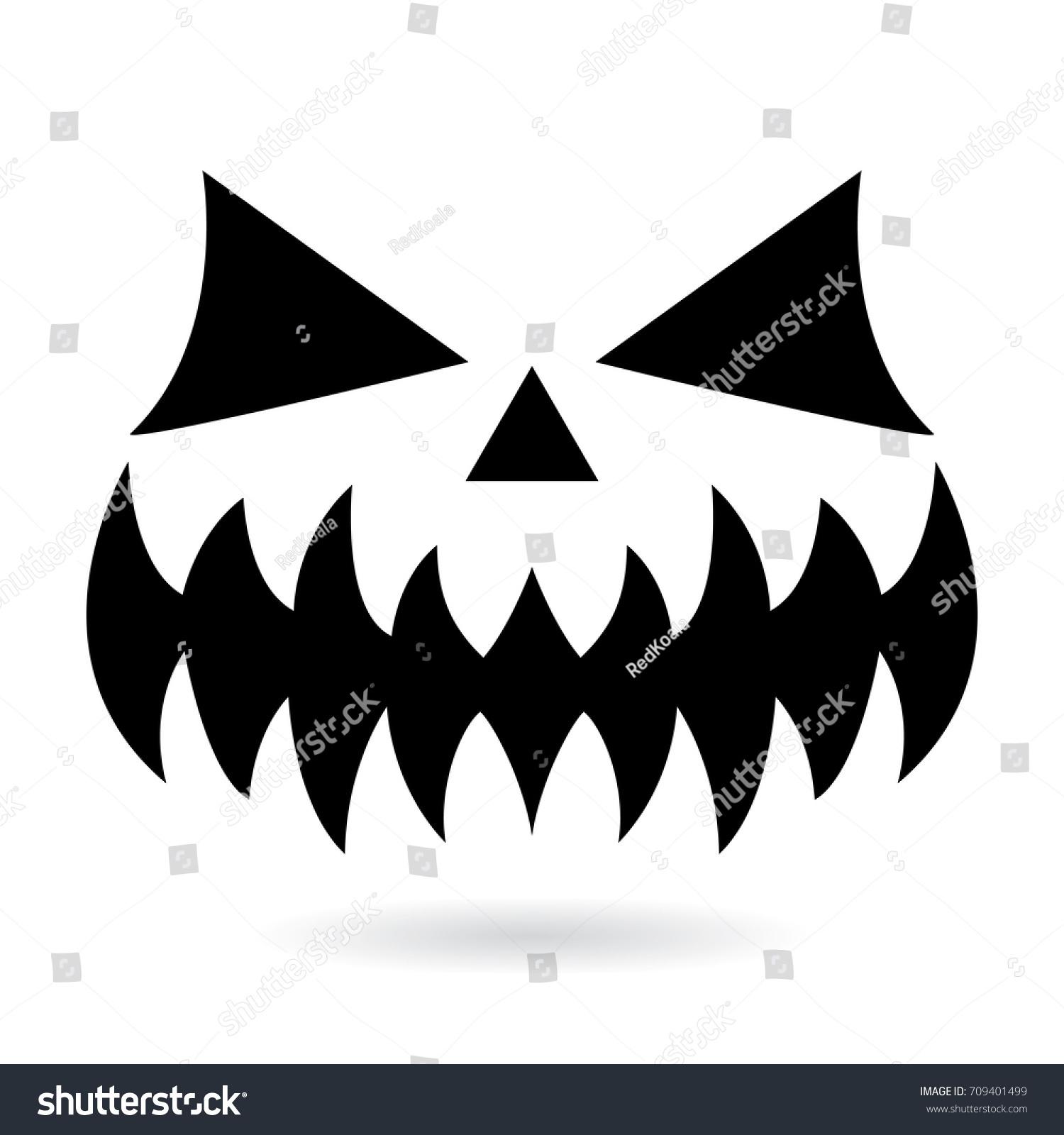 Scary halloween pumpkin face vector design stock vector for Evil pumpkin face template