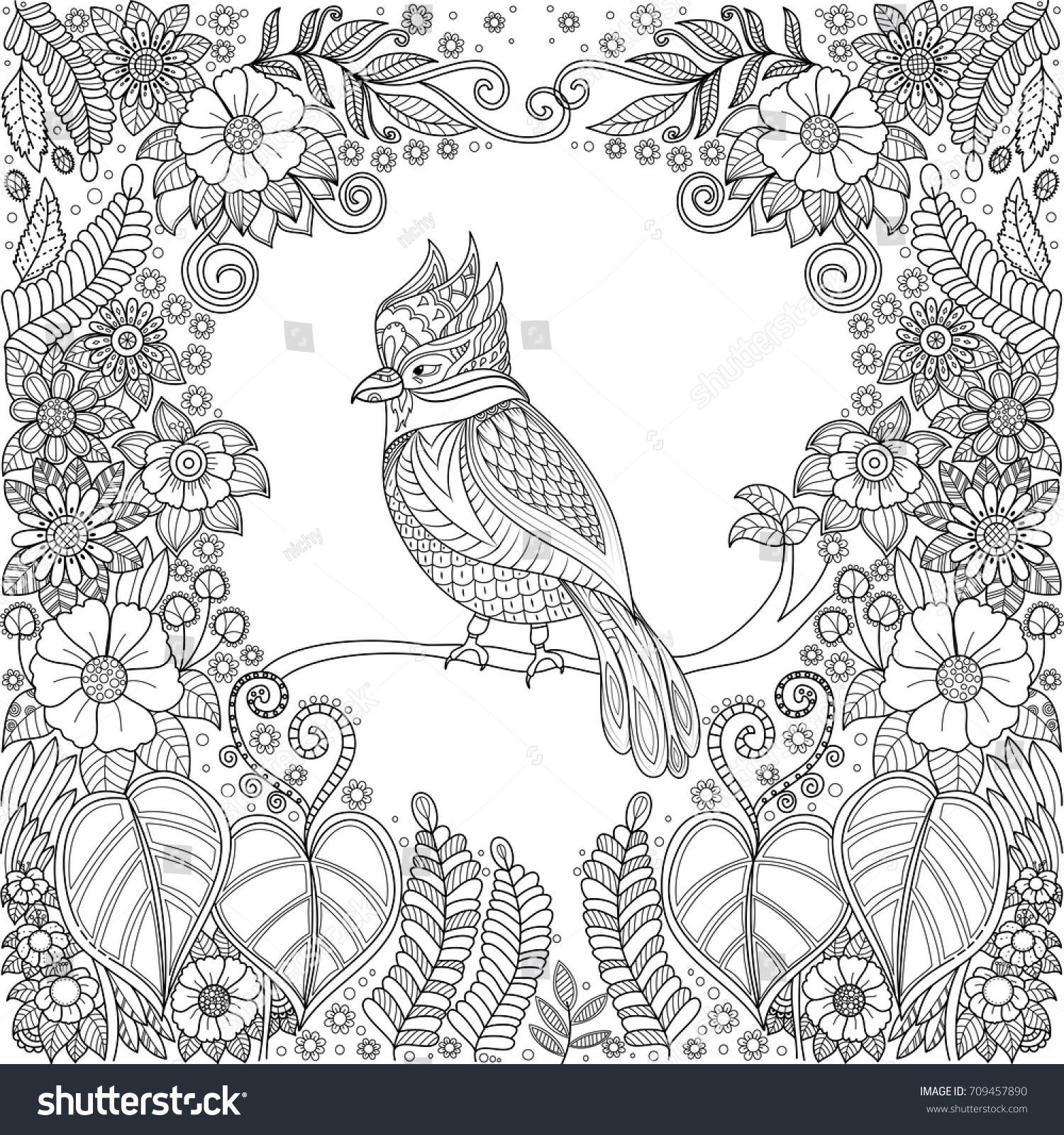 Tropical Bird Zentangle In Jungle With Flowers For Adult Coloring Book Pagevector Illustration