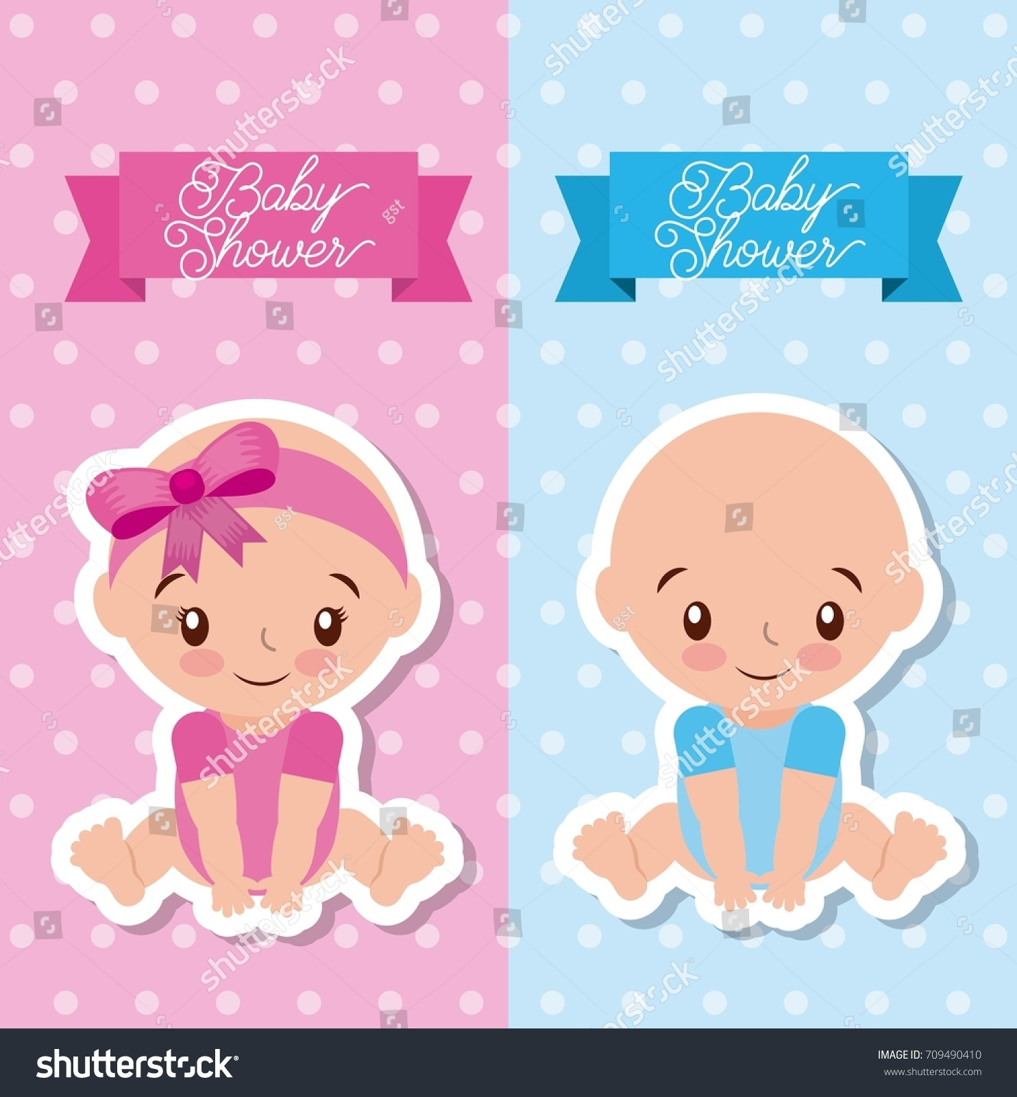Baby Shower Greeting Card Boy Girl Stock Vector Royalty Free