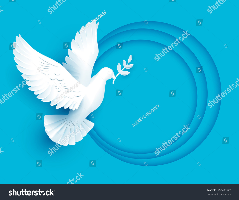White Dove Holds Twig Symbol Peace Stock Illustration 709493542
