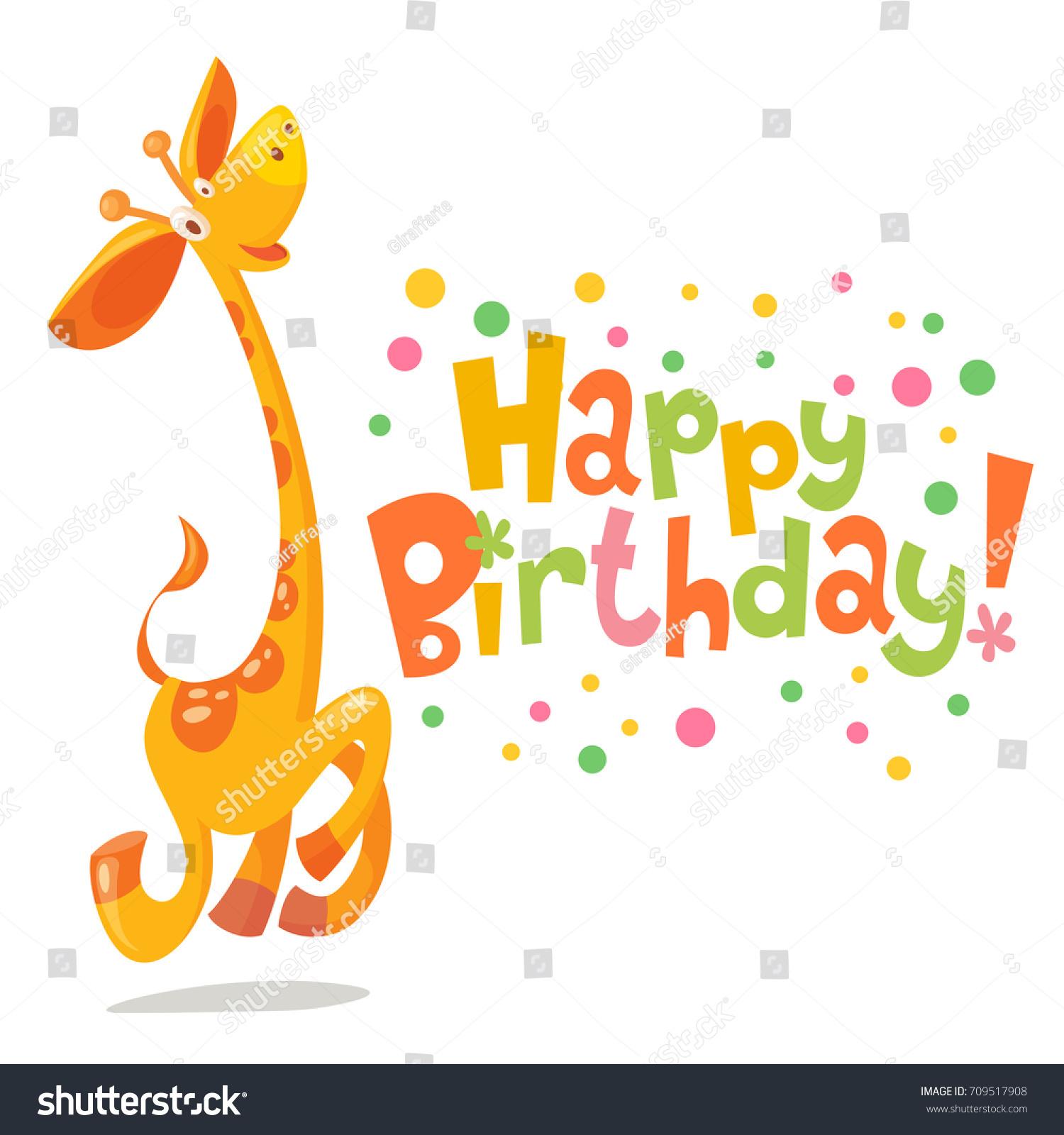 Happy birthday vector card baby birthday stock vector 709517908 happy birthday vector card baby birthday card with cute giraffe bookmarktalkfo Choice Image