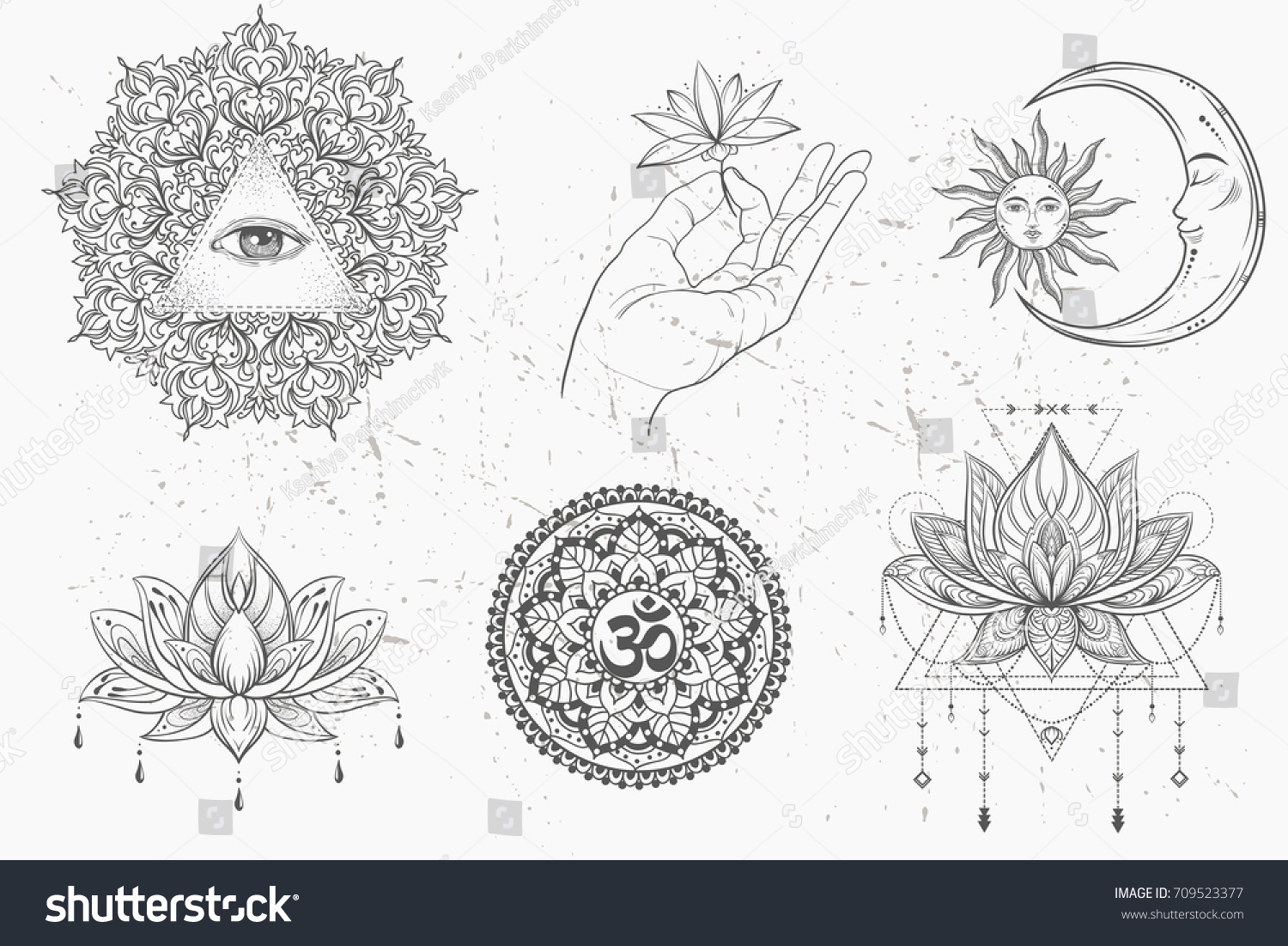 Mandala Set Lotus Flower Moon Sun Stock Vector Royalty Free