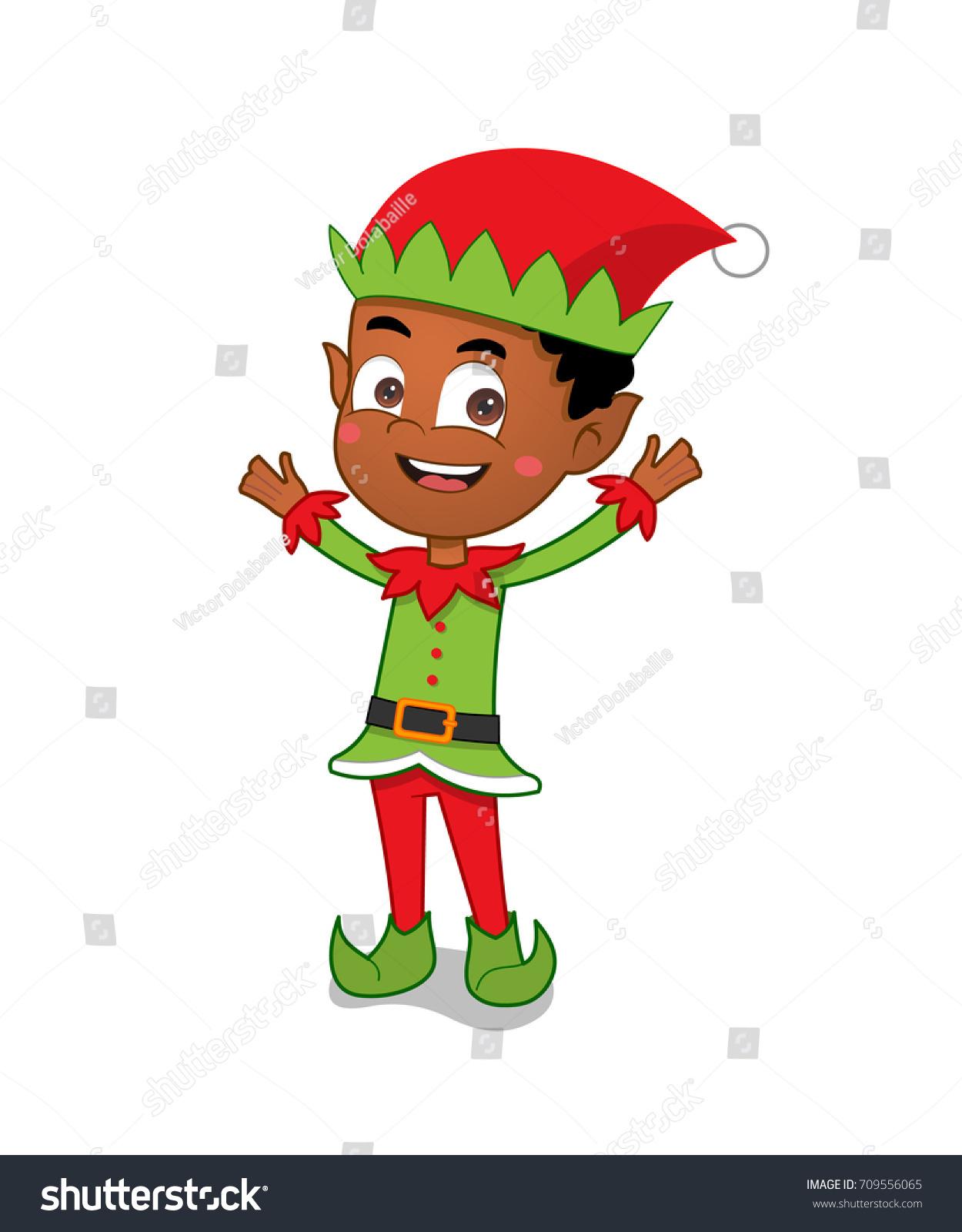 African American Christmas Elf Boy Stock Vector Royalty Free