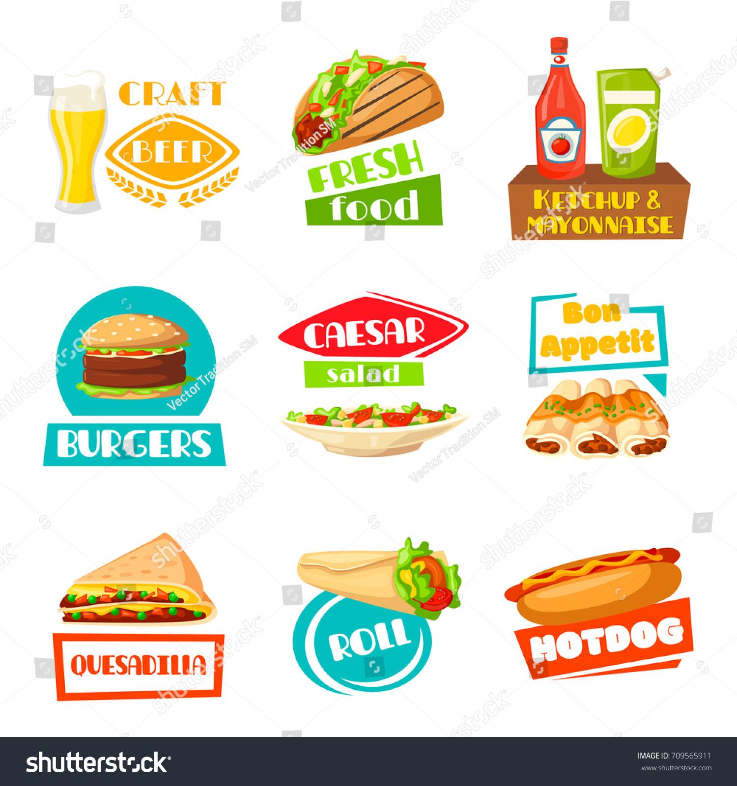 fast food meals icons menu template のベクター画像素材