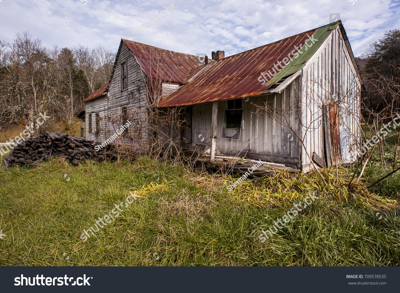 Outside Abandoned Farm House Faded White Buildings Landmarks Stock Image 709578535