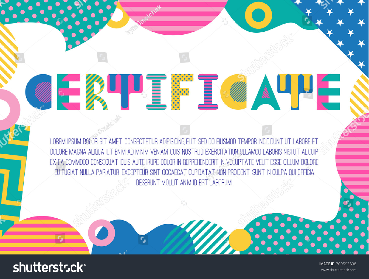 Certificate Trendy Geometric Font Memphis Style Stock Vector