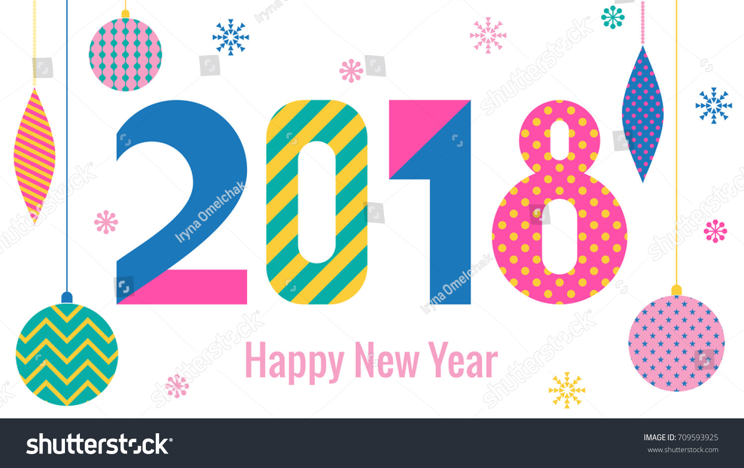 Stylish greeting card happy new year stock vector 2018 709593925 stylish greeting card happy new year 2018 trendy geometric font in memphis style of m4hsunfo