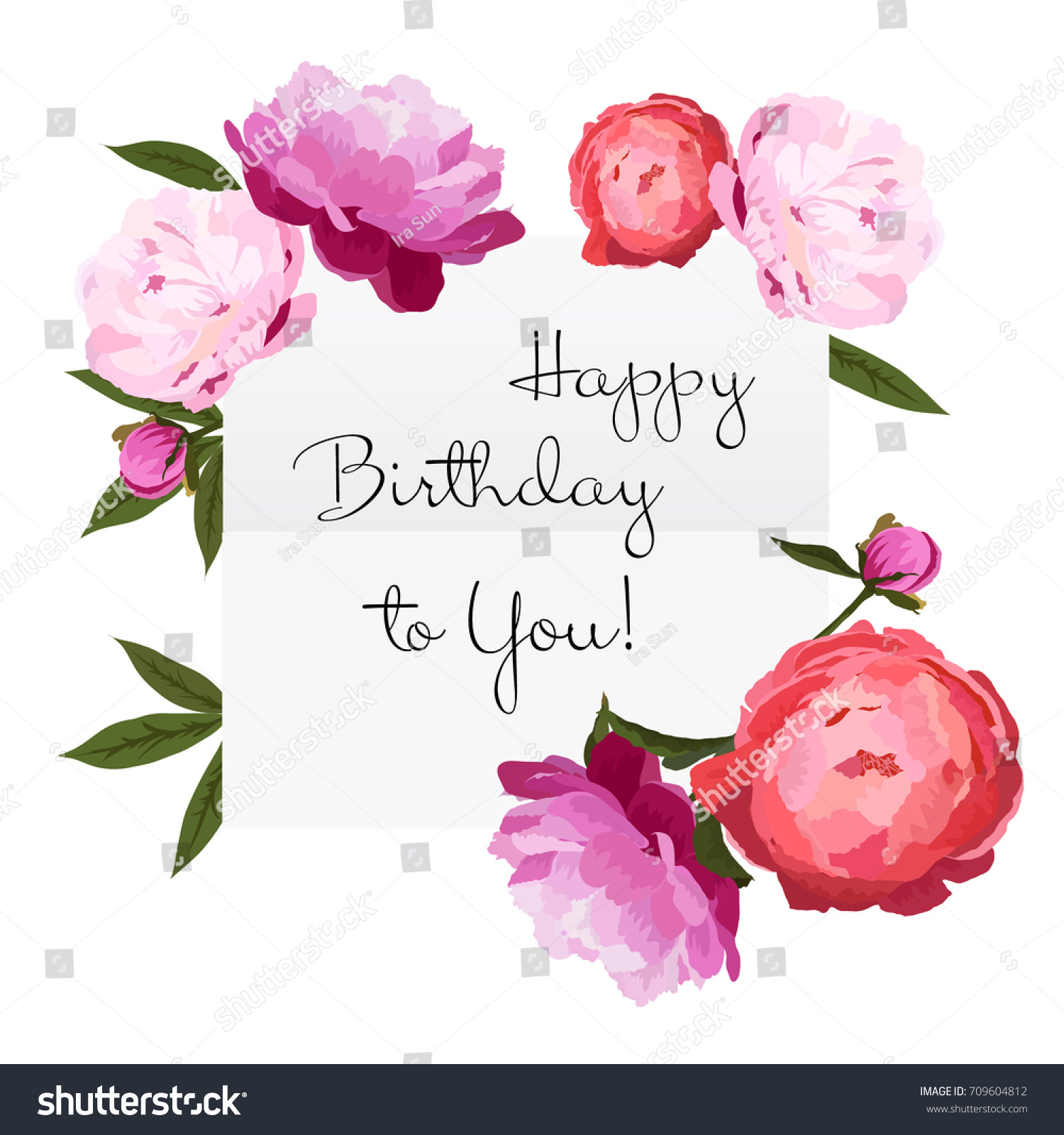 Vector illustration happy birthday card colorful stock vector vector illustration of happy birthday card with colorful peonies flowers red pink and violet izmirmasajfo