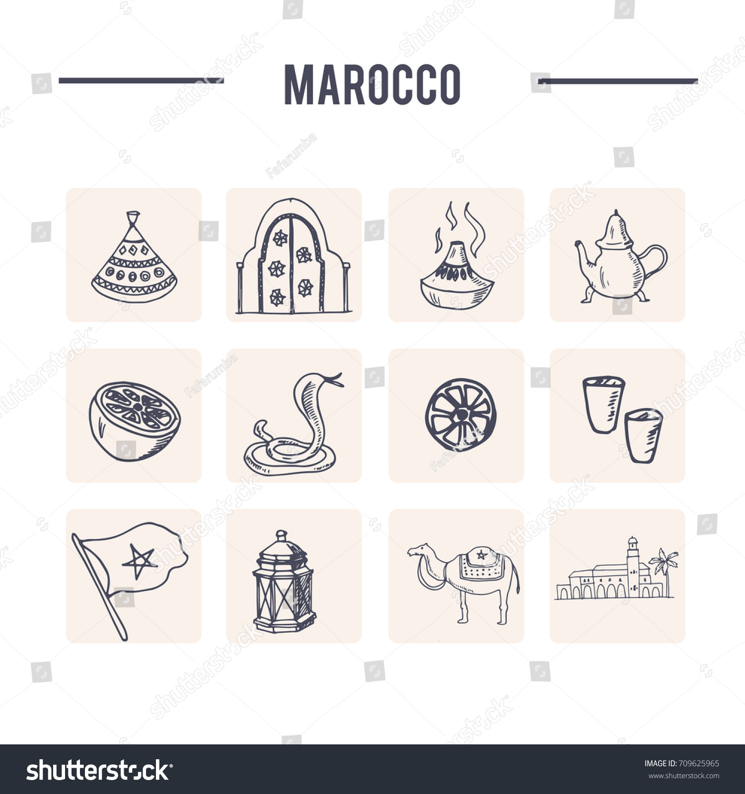 Hand Drawn Morocco Travel Collection Icons Stock Vector Royalty