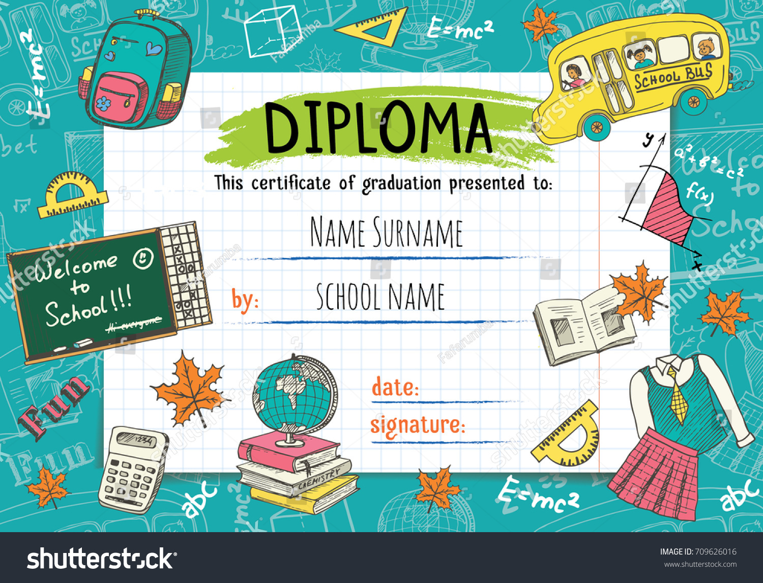 Diploma template kids certificate background hand stock vector diploma template for kids certificate background with hand drawn school elements for kindergarten school xflitez Images