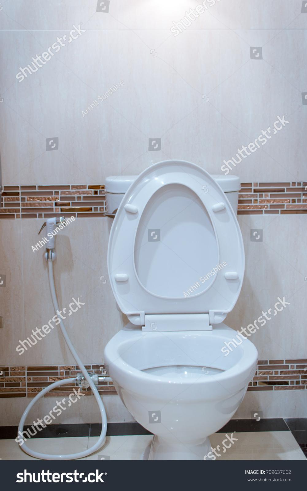 White Toilet Bowl Office Bath Bathroom Stock Photo (Royalty Free ...