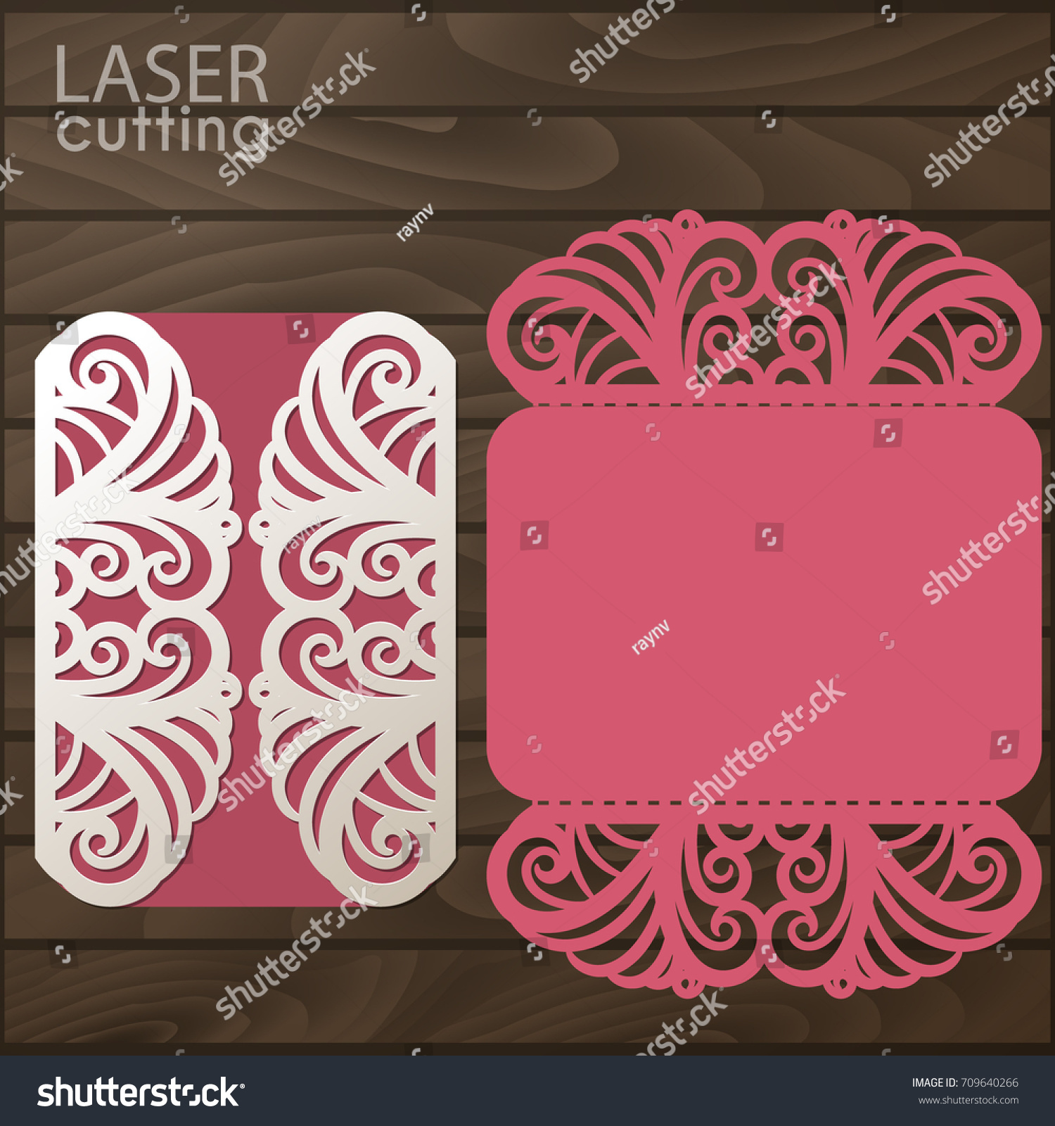 Laser Cut Wedding Invitation Card Template Stock Vector HD (Royalty ...