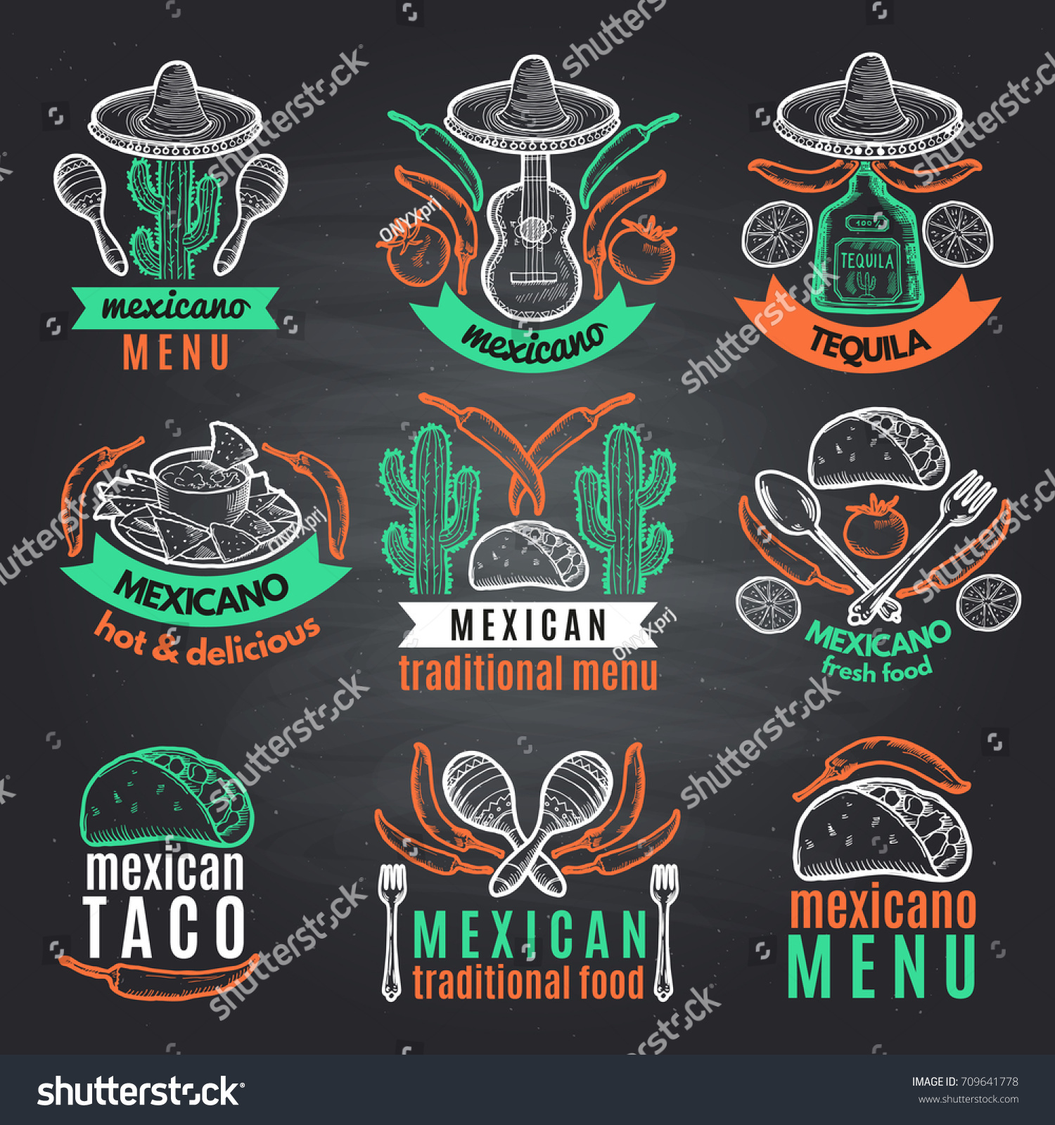 Colored Labels Mexican Symbols On Black Stock Vector Royalty Free