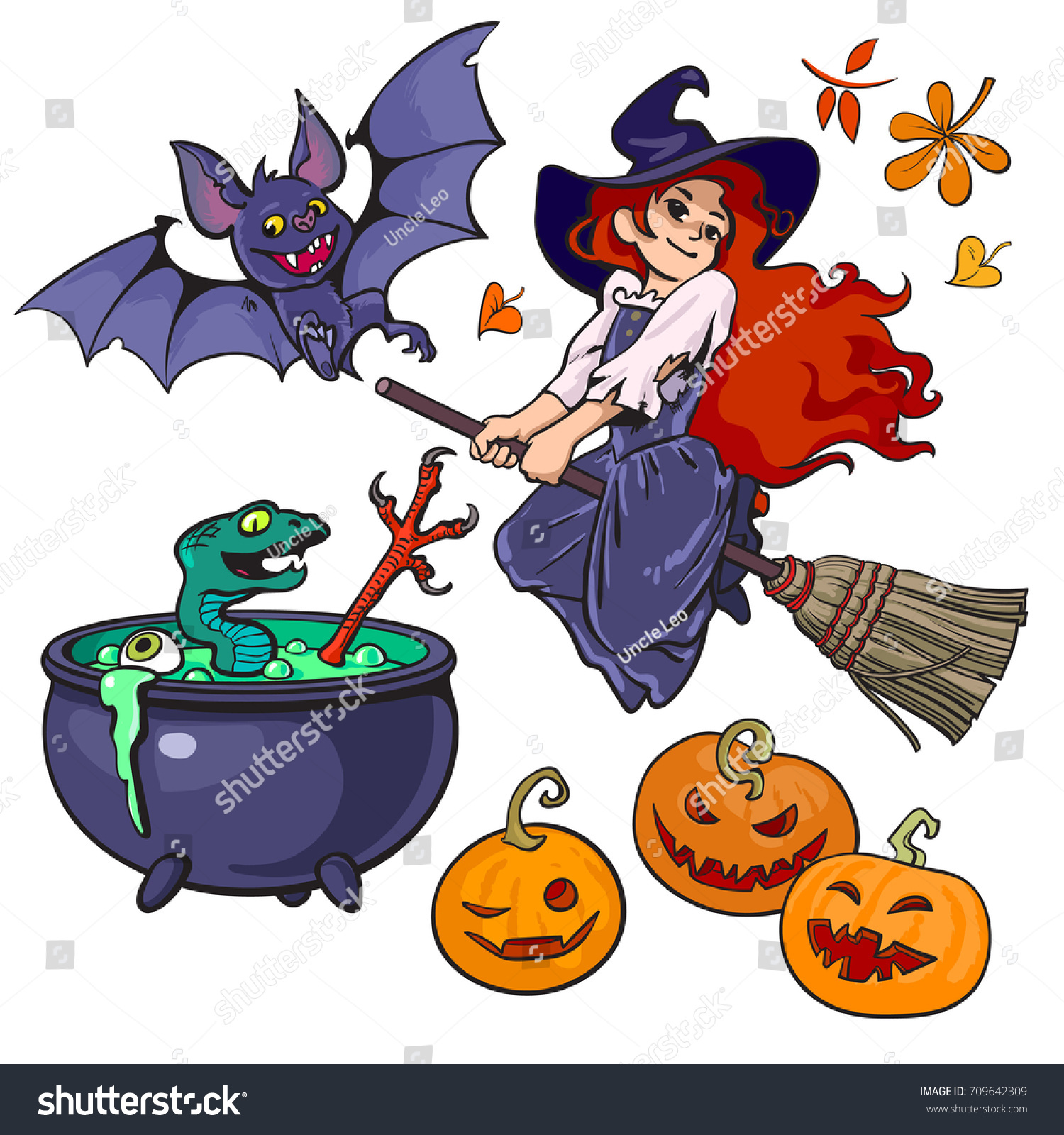 set halloween cartoon characters objects little stock vector